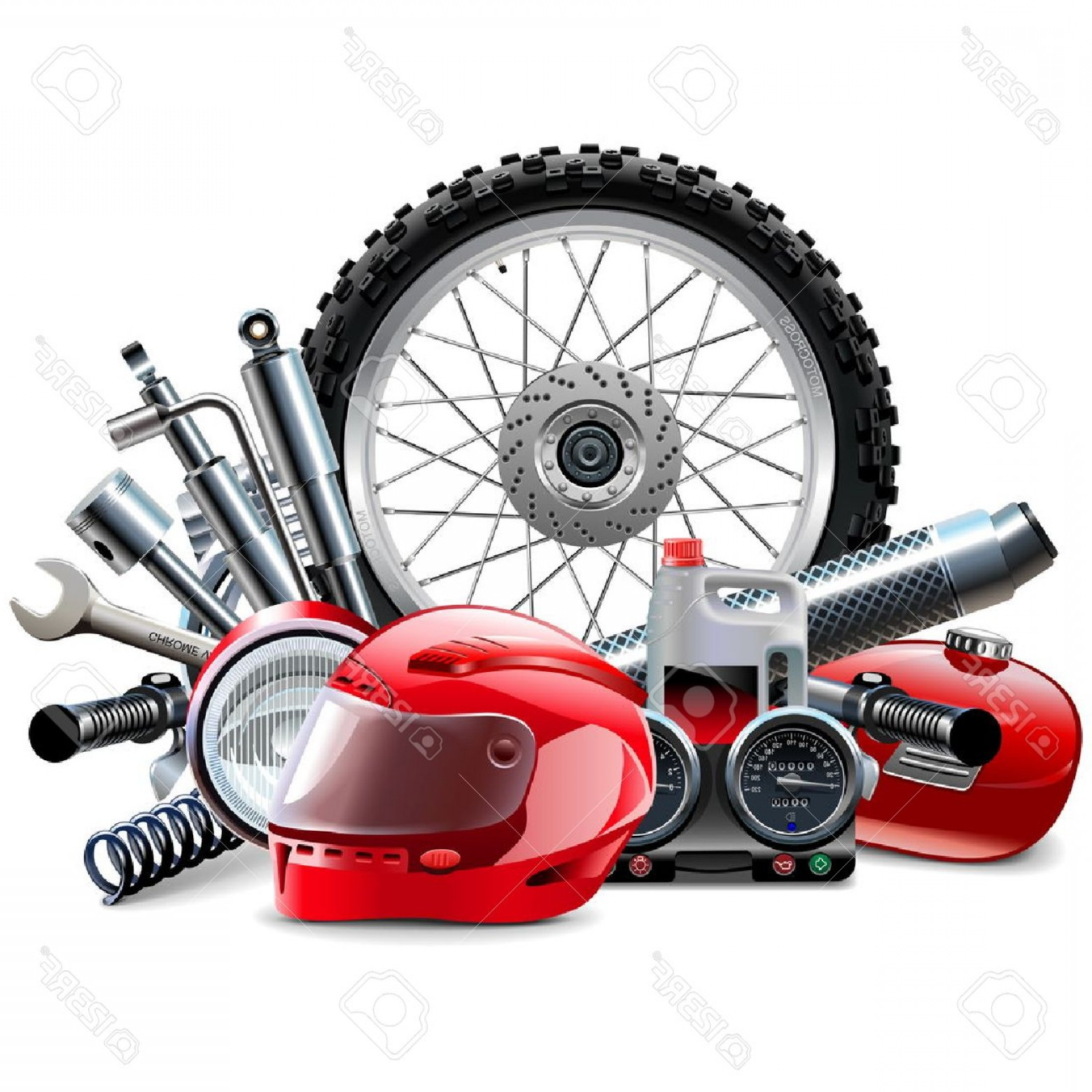 Vector Motorcycle Parts: Photostock Vector Vector Motorcycle Spares Concept Isolated On White Background