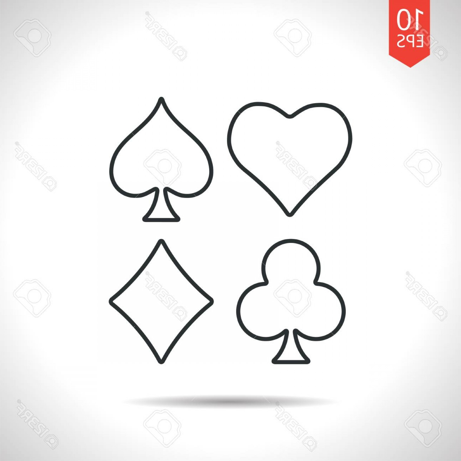 Card Suits Vector Outlines: Photostock Vector Vector Outline Classic Grey Game Casino Cards Suit Icon On White Background