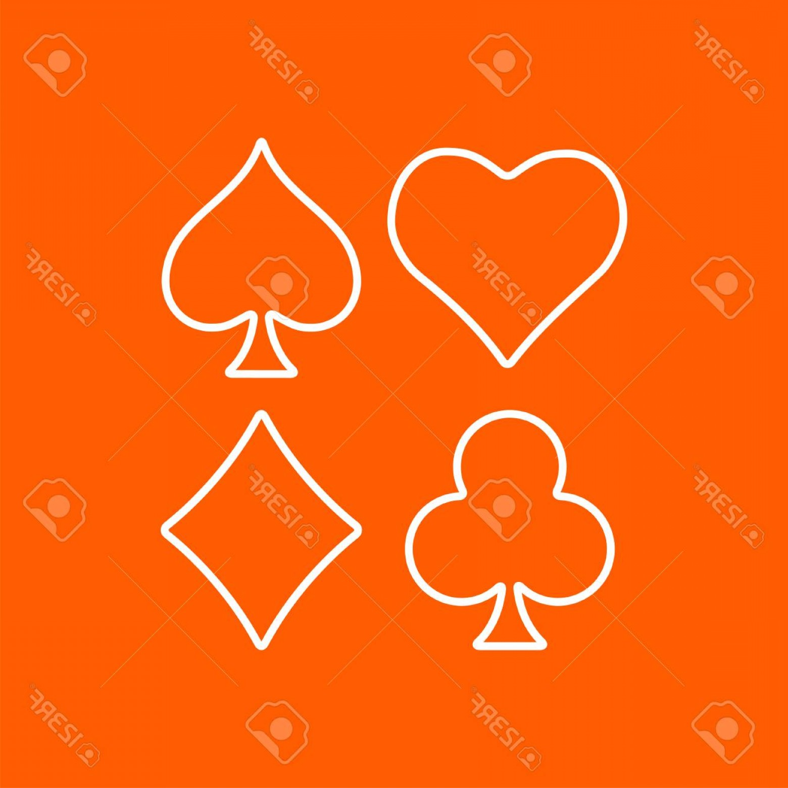Card Suits Vector Outlines: Photostock Vector Vector Outline Game Casino Cards Suit Icon On Color Background