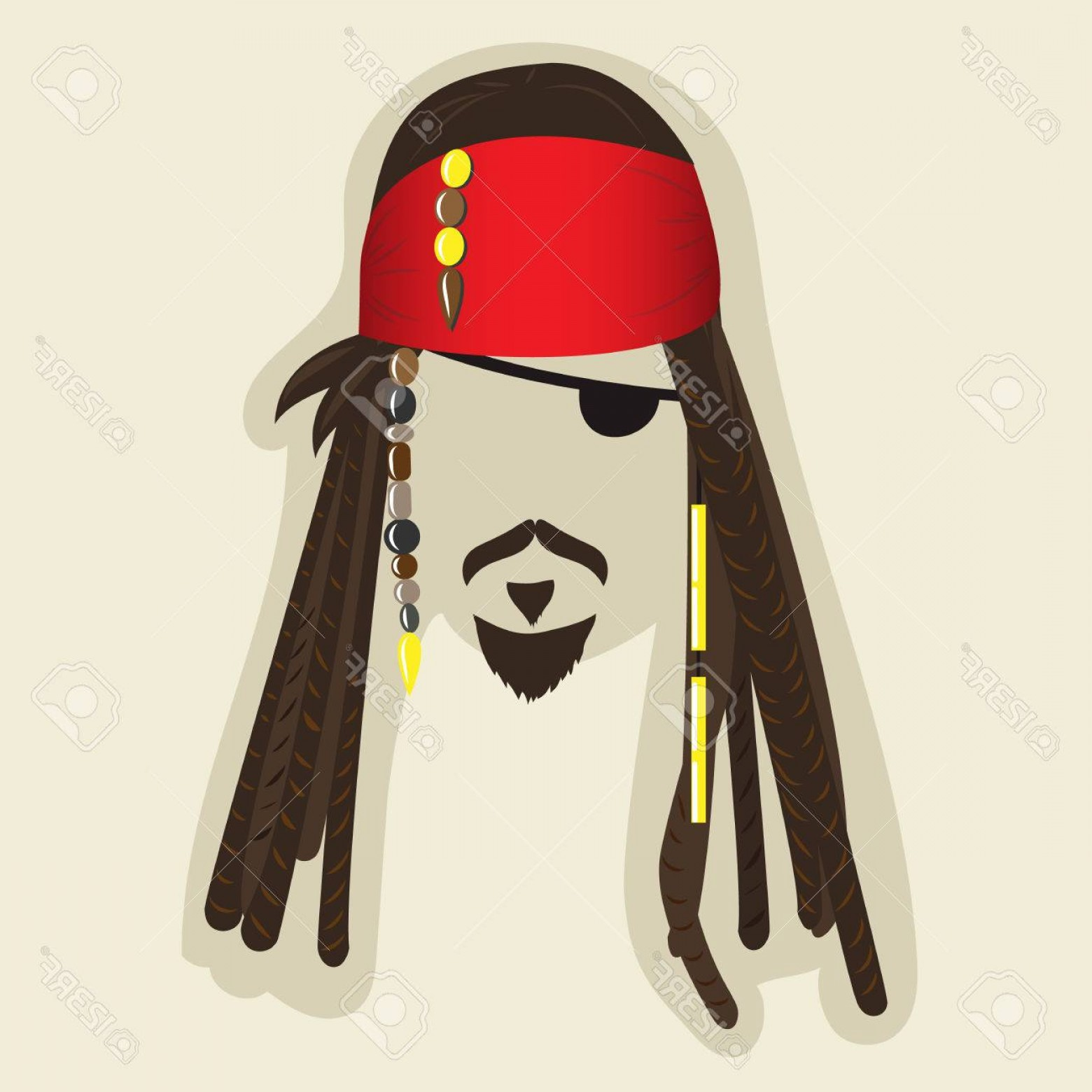 Jack Sparrow Vector Logo: Photostock Vector Vector Pirate Elements For Photo Booth Or Collage Face Symbol Of A Pirate With Dreadlocks Bandana Mu