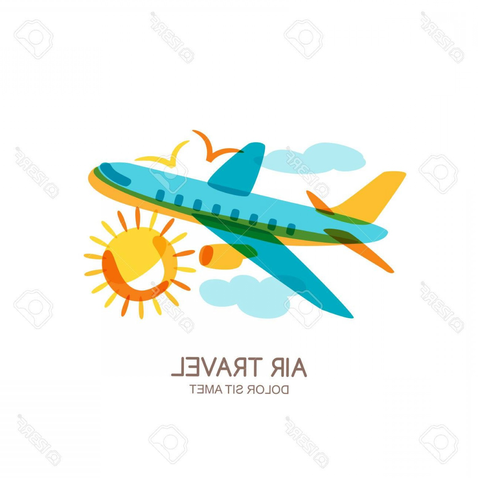 Airplane Travel Vectors: Photostock Vector Vector Plane And Air Travel Logo Emblem Design Elements Multicolor Flying Airplane In The Sky Isolat