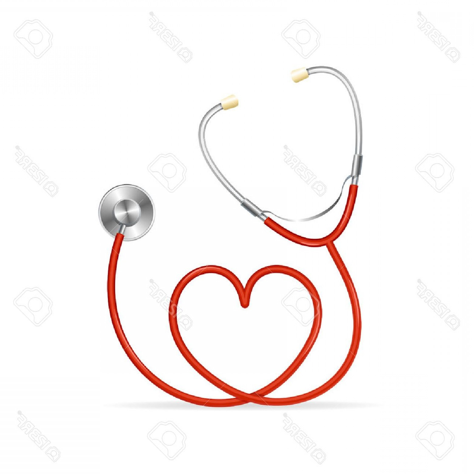Stethoscope With Heart Vector Art: Photostock Vector Vector Red Stethoscope In Shape Of Heart