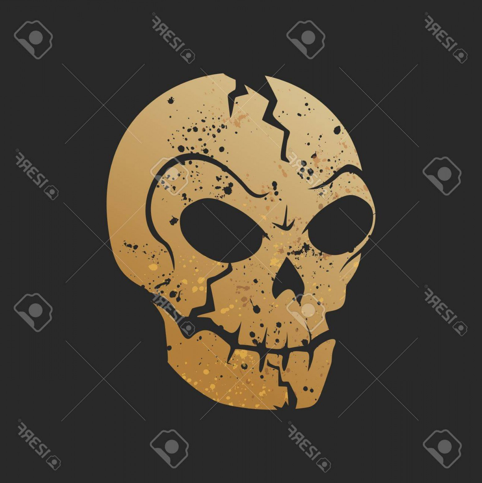 Headless Scary Halloween Skeletons Vectors: Photostock Vector Vector Rustic Creepy Skull Logo Illustration Isolated
