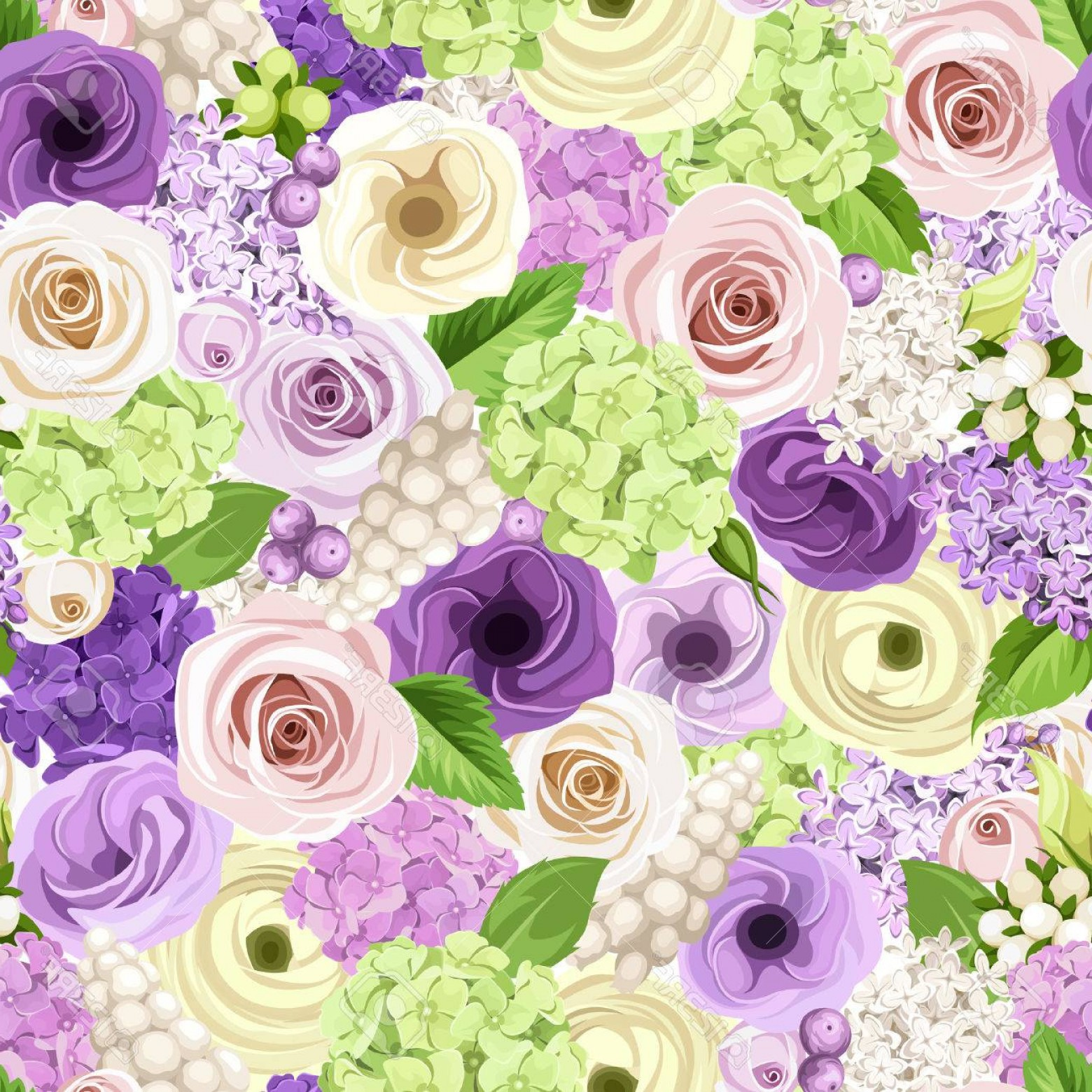 Purple Green And White Vector: Photostock Vector Vector Seamless Background With Pink Purple White And Green Roses Lisianthuses Ranunculus Lilac And