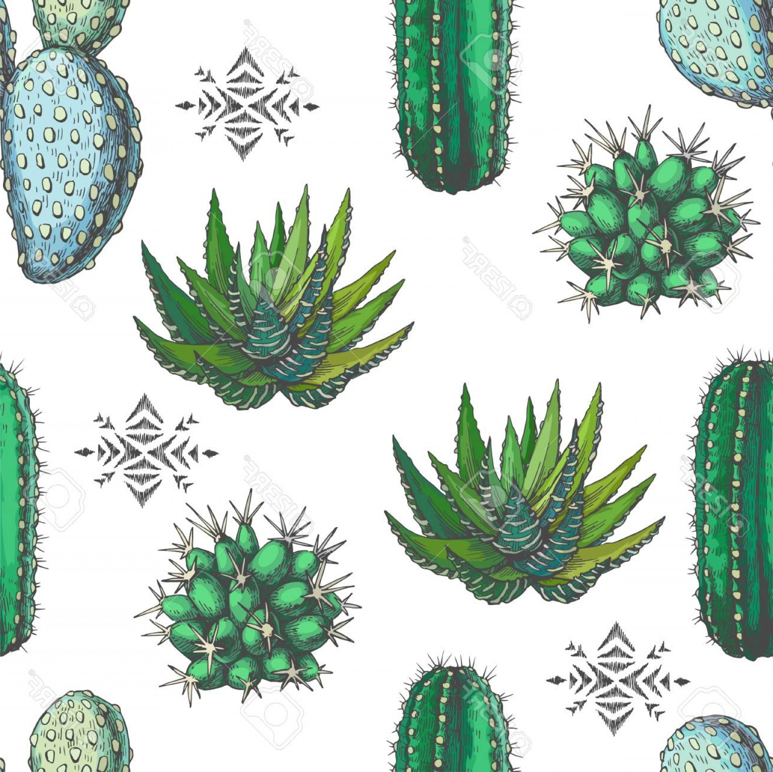 Aztec Cactus Vector: Photostock Vector Vector Seamless Pattern With Color Houseplants And Aztec Ornament Vintage Illustration With Cactus A
