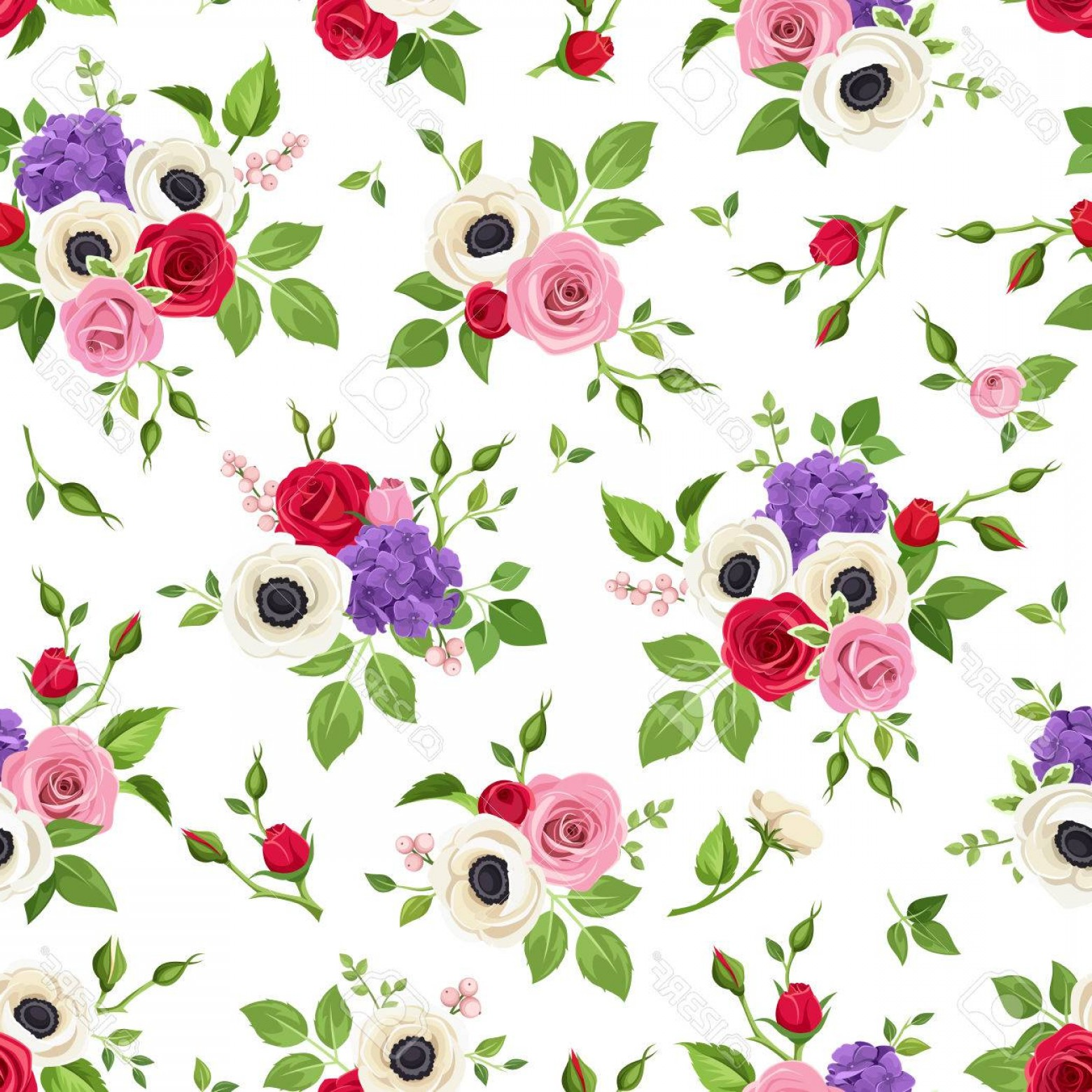 Purple Green And White Vector: Photostock Vector Vector Seamless Pattern With Red Pink White And Purple Roses Anemones And Hydrangea Flowers And Gree