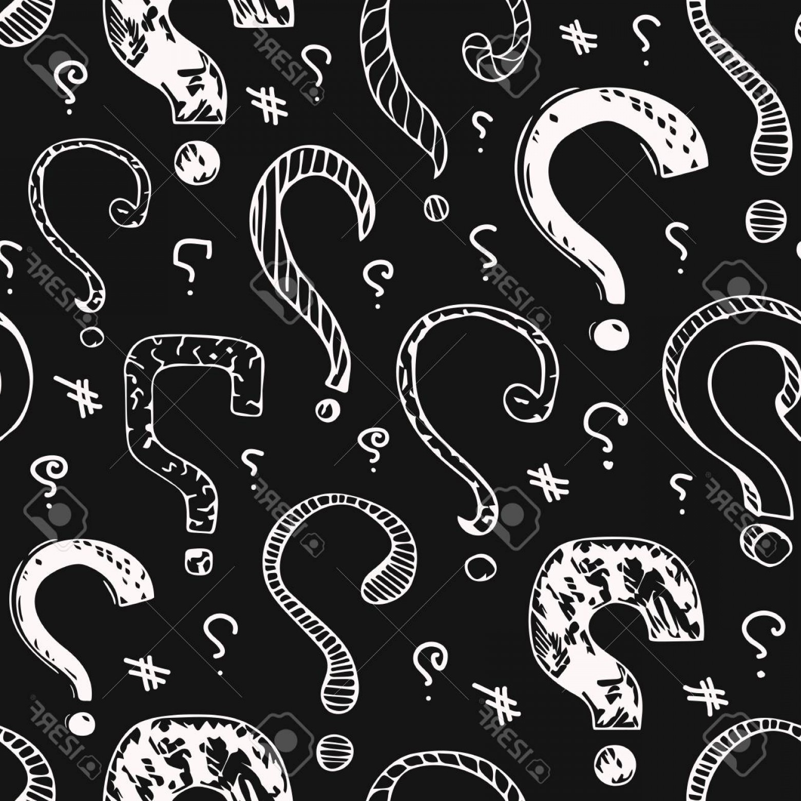 Vector Wallpaper Question Photostock Seamless Pattern With White Marks On A Black