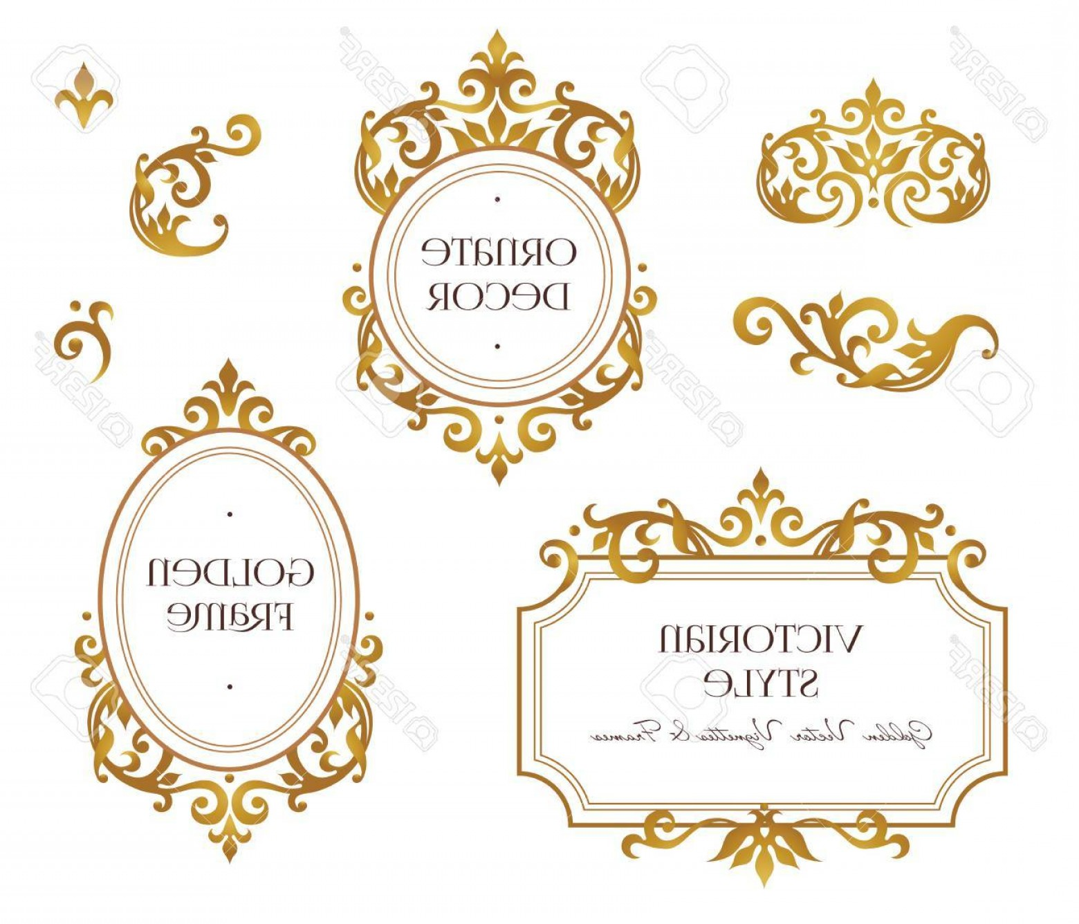 Victorian Style Frame Vector: Photostock Vector Vector Set Frames And Vignette For Design Template Element In Victorian Style Golden Floral Borders