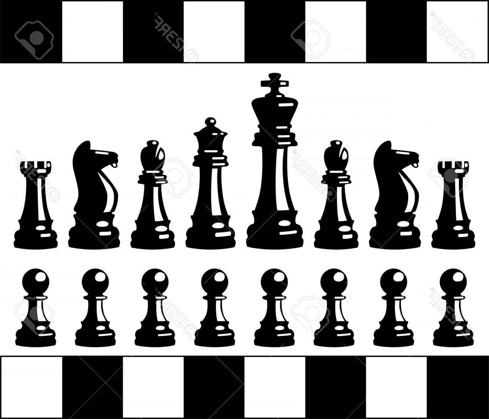 Vector Chess Board: Photostock Vector Vector Set Of Black And White Chess Pieces