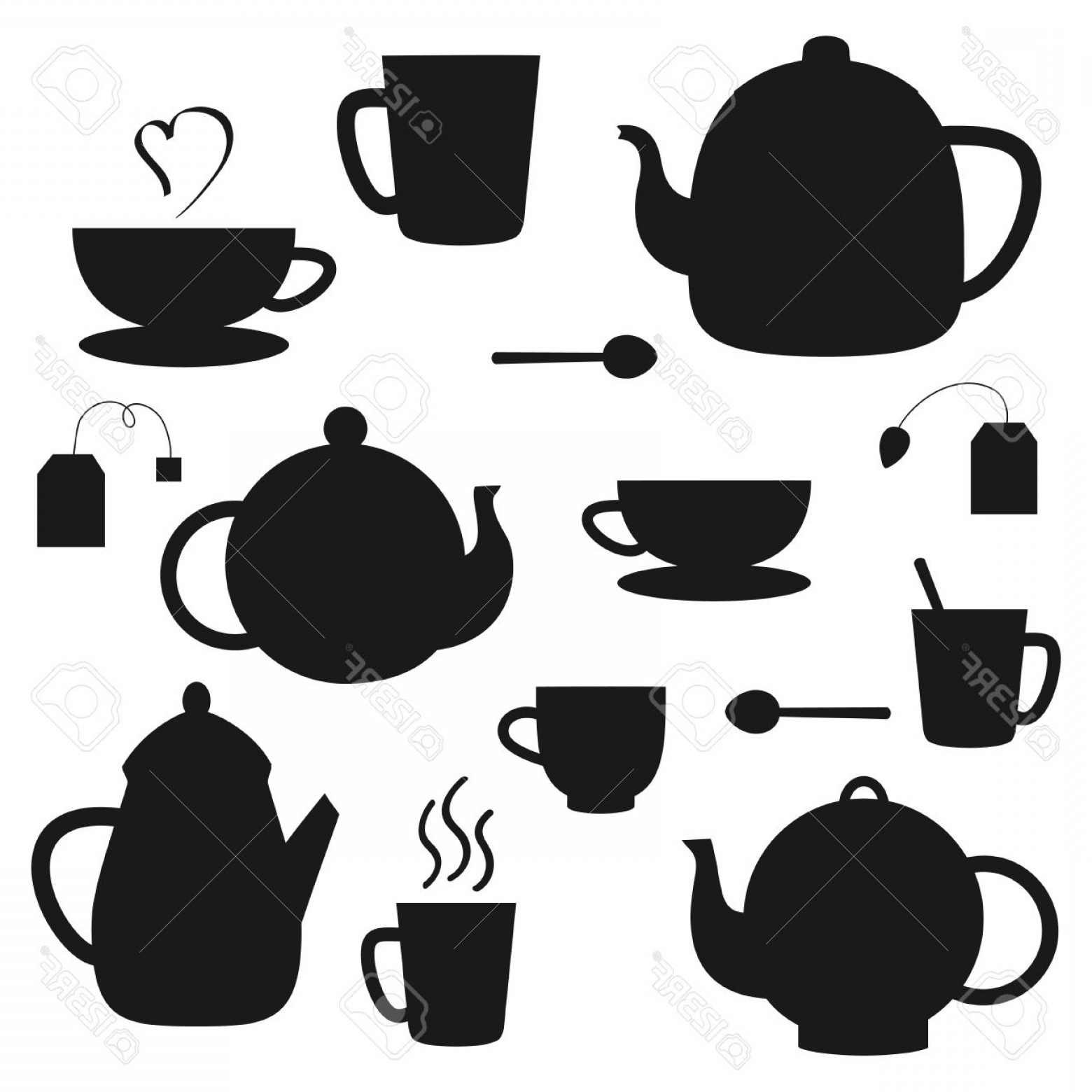 Tea Set Vector: Photostock Vector Vector Set Of Black Tea Pots And Cups Silhouettes