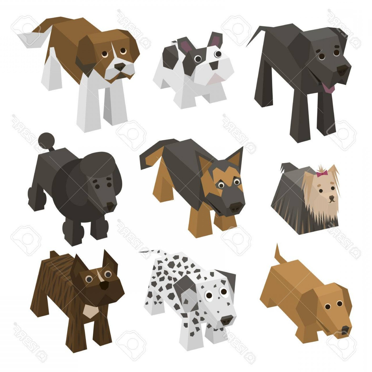 Bpxer Vector Art Happy Dog: Photostock Vector Vector Set Of Different Breed Isometric Dogs Isolated Cute Isometry Animals Elements Of Geometric Fl