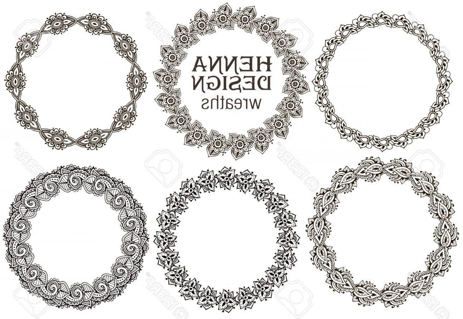 Tattoo Templates Vector Frames: Photostock Vector Vector Set Of Henna Floral Round Frames Based On Traditional Asian Ornaments Paisley Mehndi Tattoo D