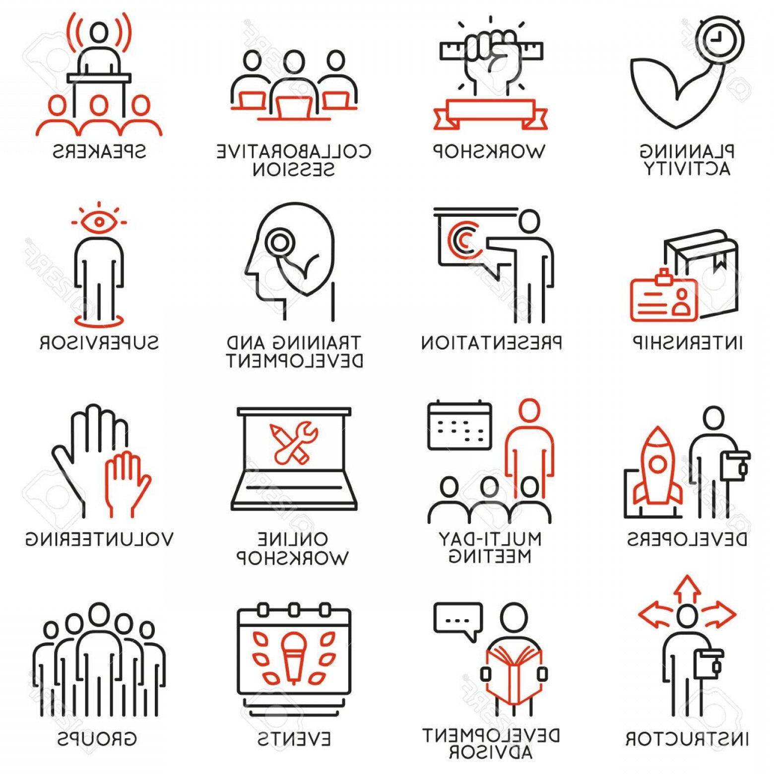 Vector Consulting Service: Photostock Vector Vector Set Of Icons Related To Career Progress Professional Consulting Service Training And Devel