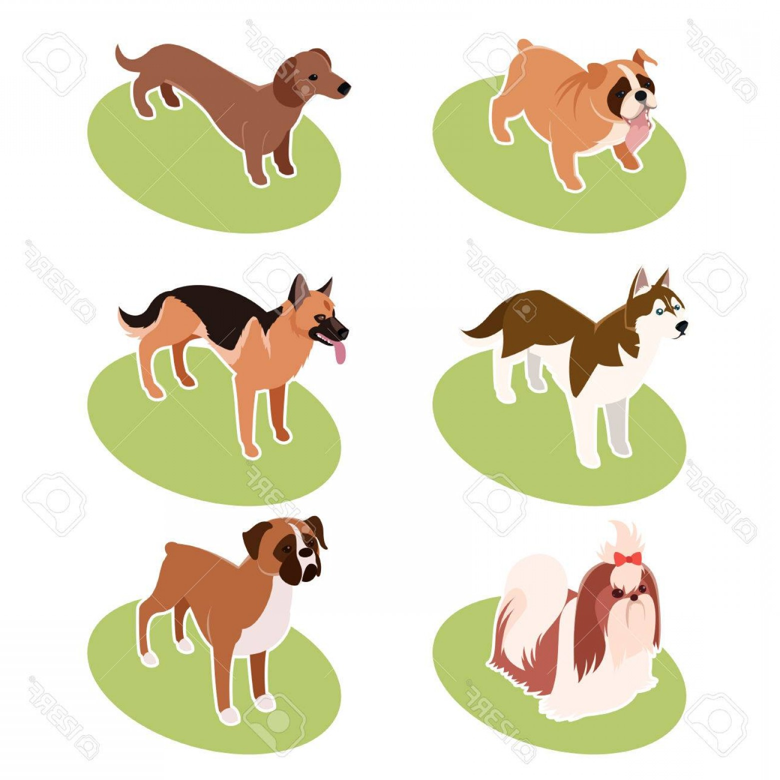 Corgi Vector Multicolor: Photostock Vector Vector Set Of Isometric Icons Of Various Dogs