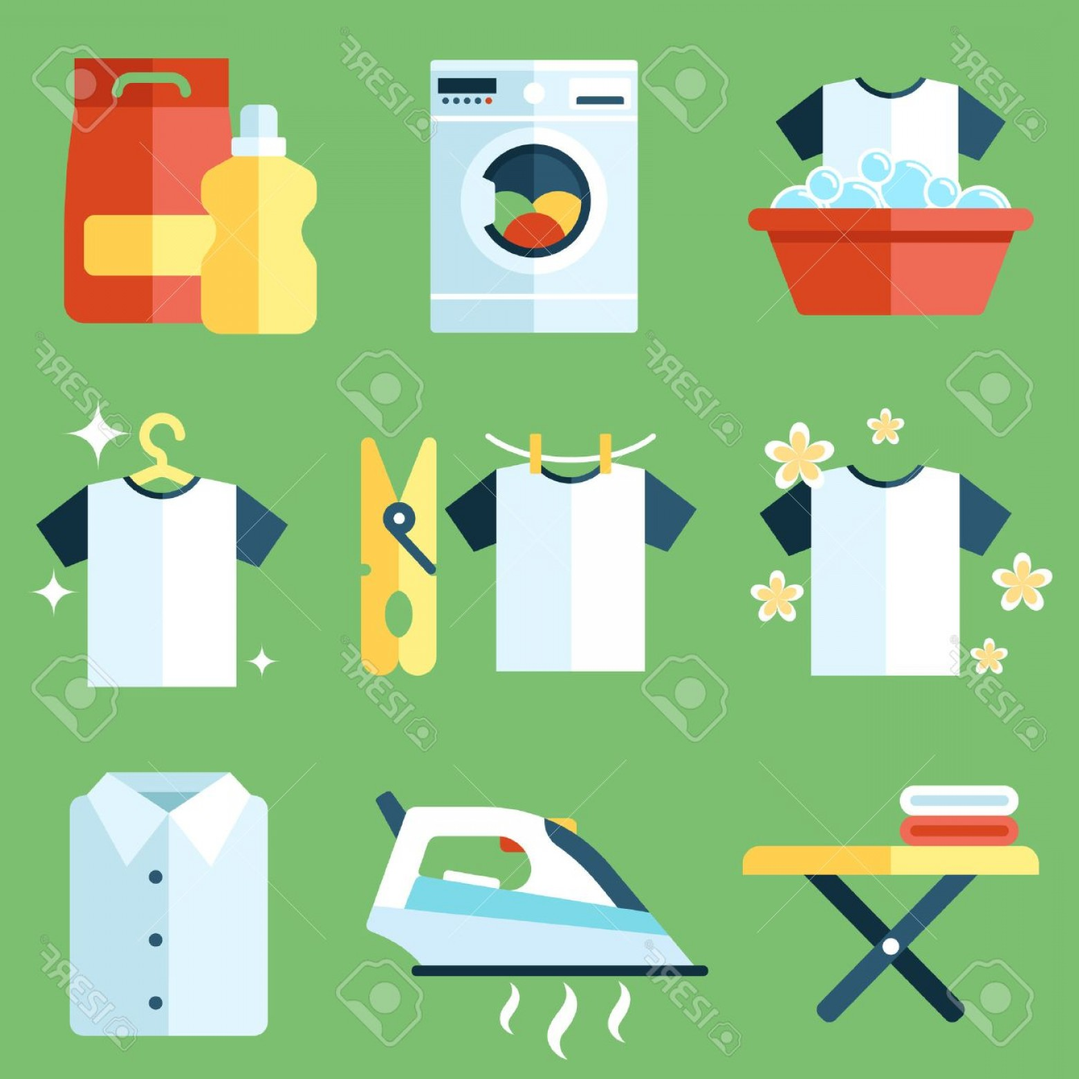 Clothes For Washing Vector: Photostock Vector Vector Set Of Laundry Clothes Washing And Ironing Icons Flat Style