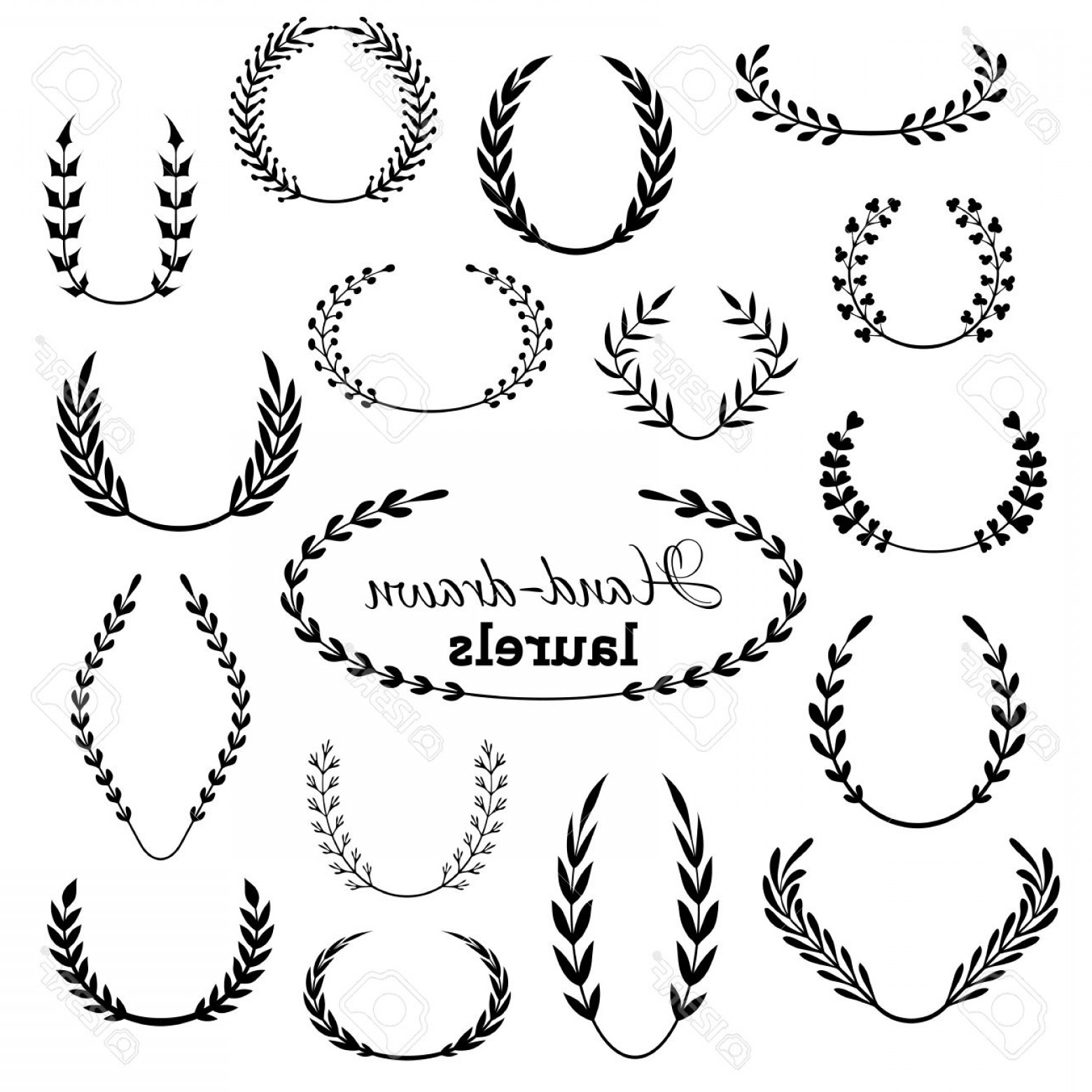 Hand Drawn Laurel Vector: Photostock Vector Vector Set Of Laurel Wreaths Hand Drawn Design Elements Isolated On White Background