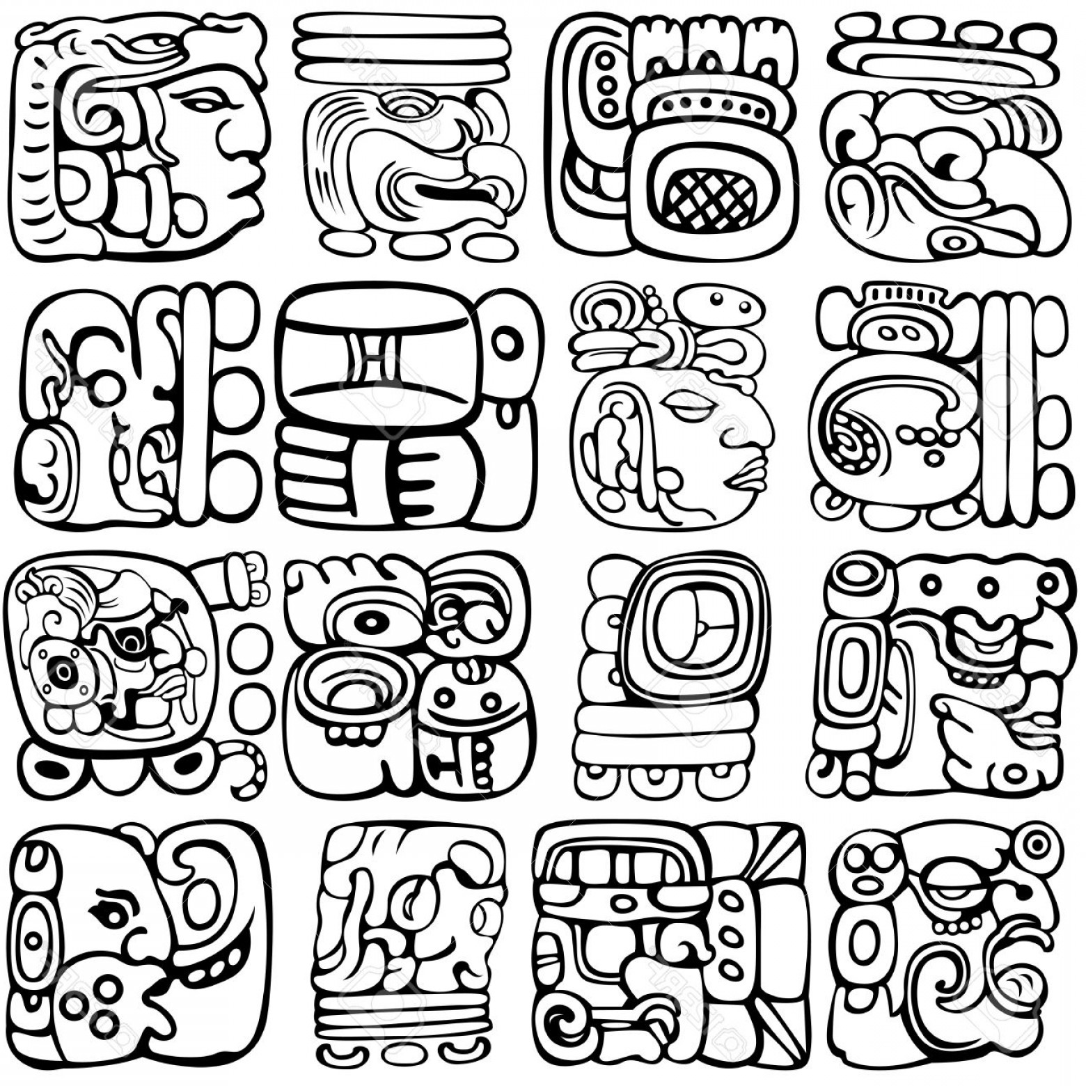 Mayan Vector: Photostock Vector Vector Set Of Mayan And Aztec Glyphs With Ancient Gods And Characters On White