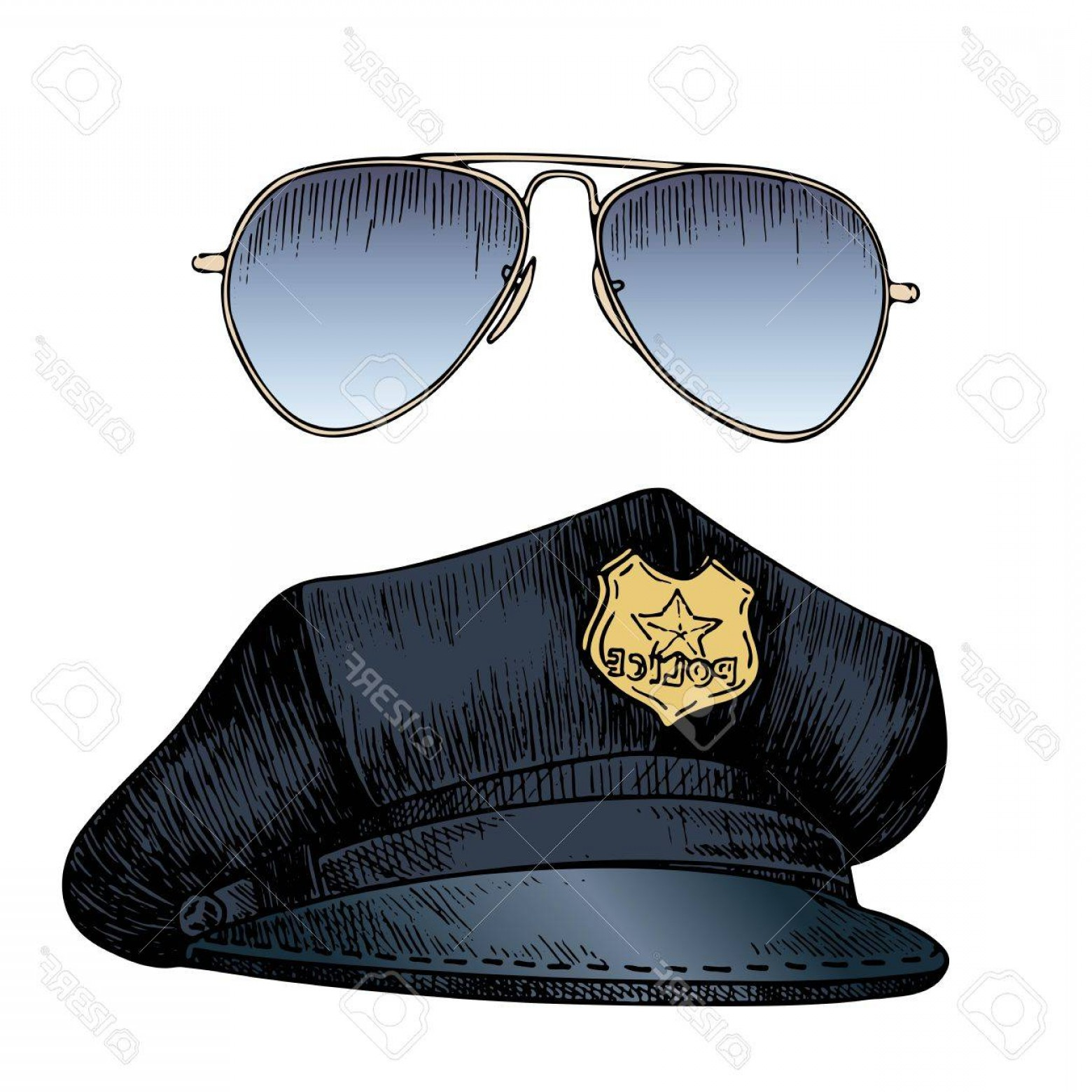 Aviator Vector Ink Drawings: Photostock Vector Vector Set Of Policeman Uniform Cap Hat And Aviators Sunglasses Hand Drawn Engraved Style Profession