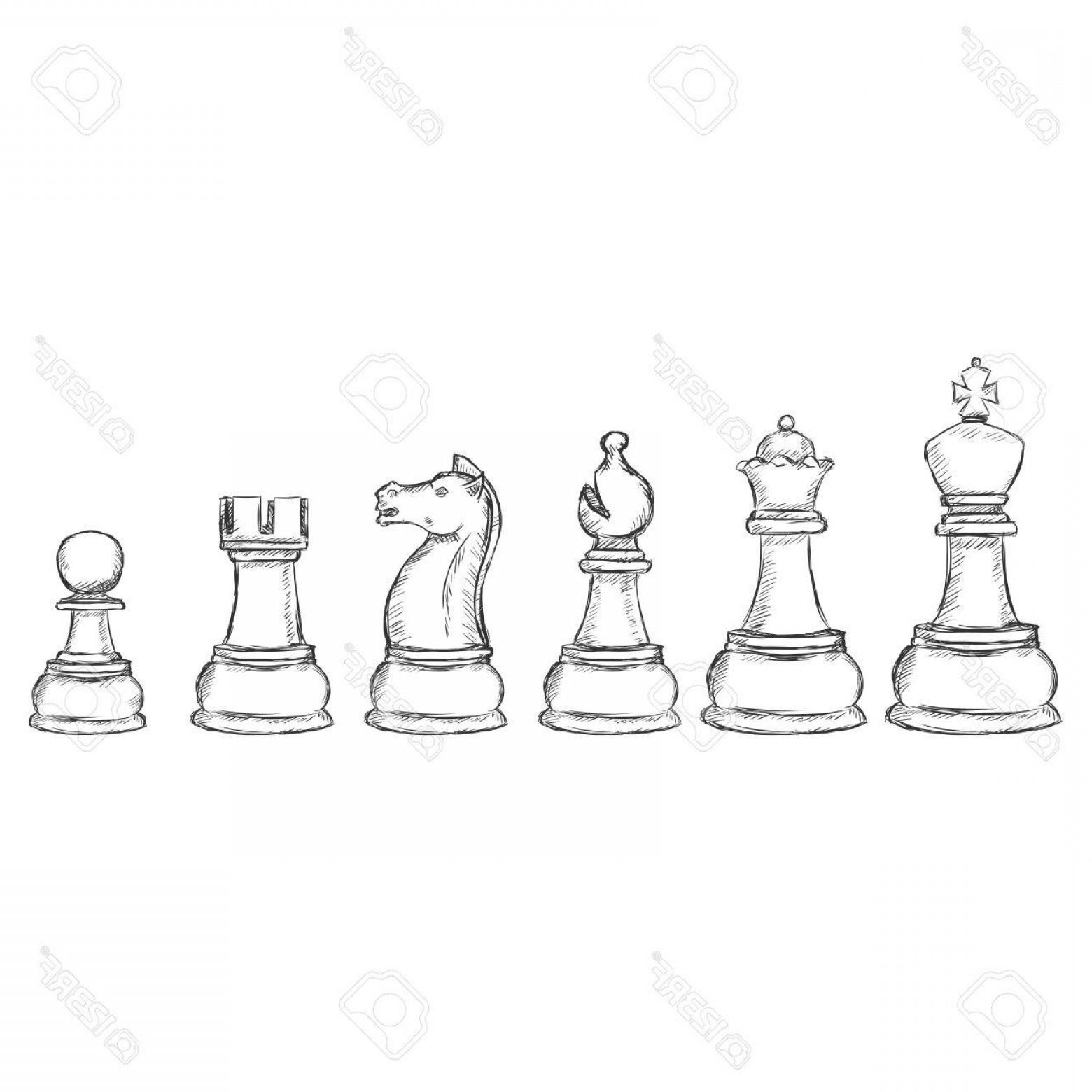 Chess Vector Background: Photostock Vector Vector Set Of Sketch Chess Figures On White Background