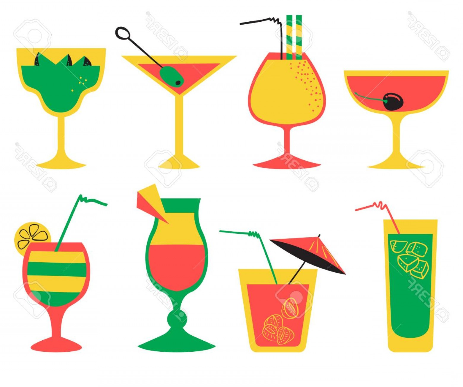 Cocktail Glasses Vector Art Decor: Photostock Vector Vector Set With Alcohol Cocktails Flat Cartoon Style Collection With Drinks Juice And Decorations In