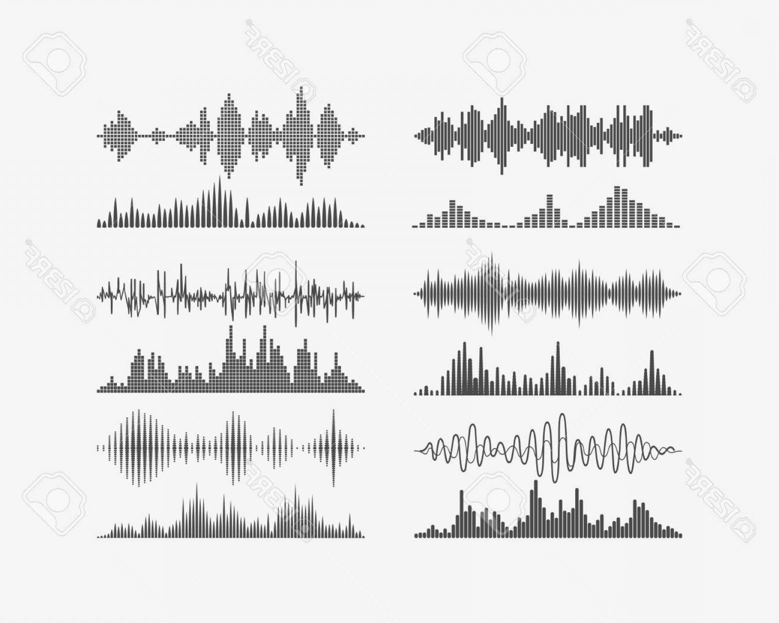 Radio Frequency Vector: Photostock Vector Vector Signal Waves Radio Frequency Waves Or Sound Analog And Digital Waves Forms