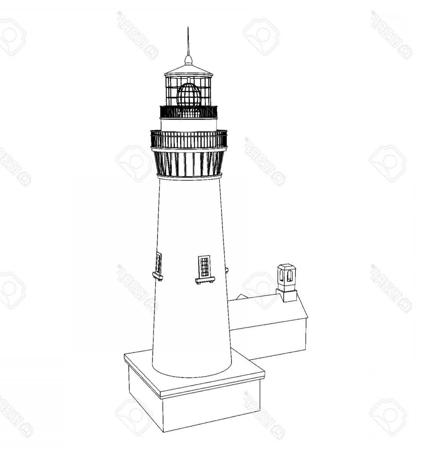 Lighthouse Beacon Silhouette Vector: Photostock Vector Vector Silhouette Lighthouse On A Light Background Black And White Illustration
