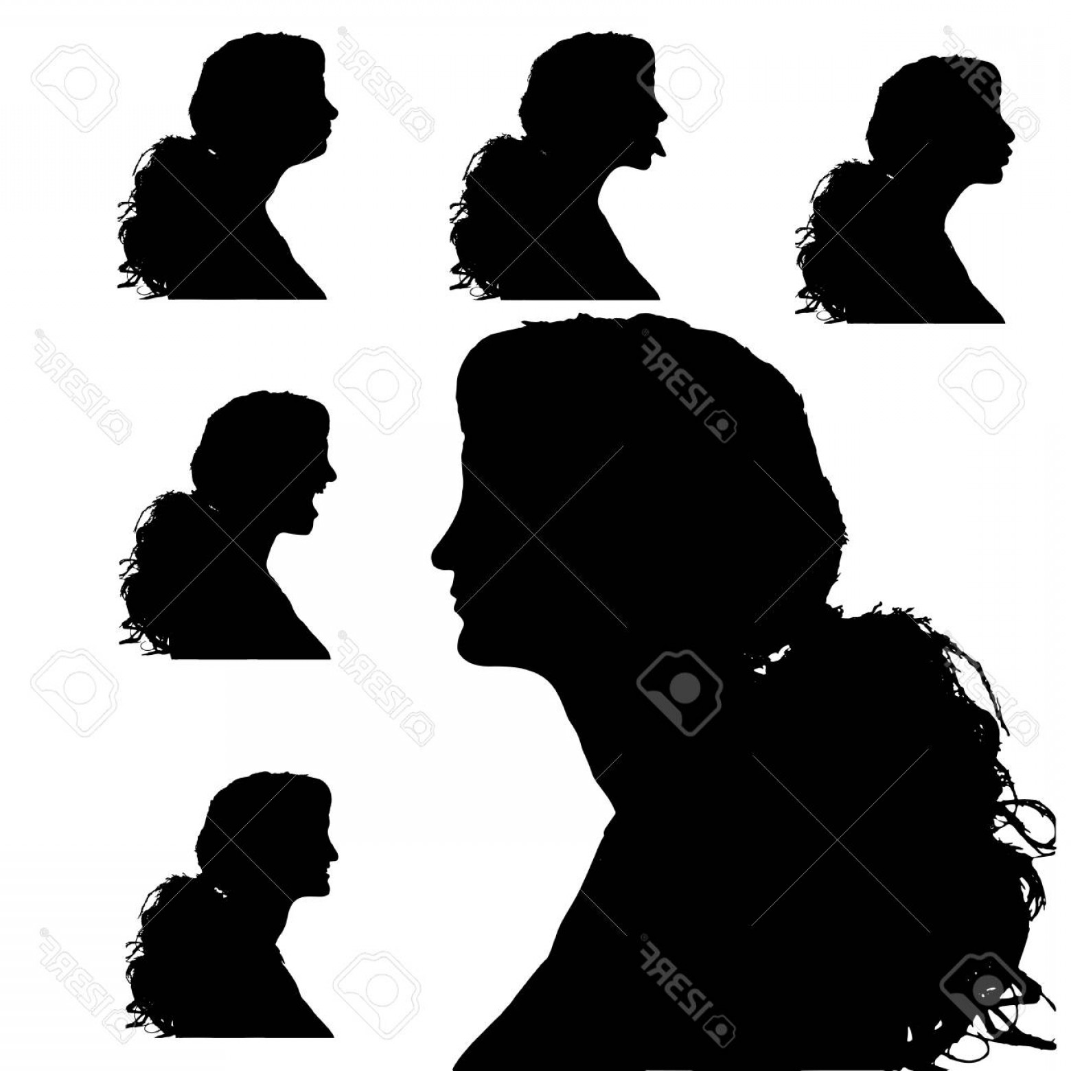 Soldier Woman Profile Vector: Photostock Vector Vector Silhouettes Woman In Profile On White Background
