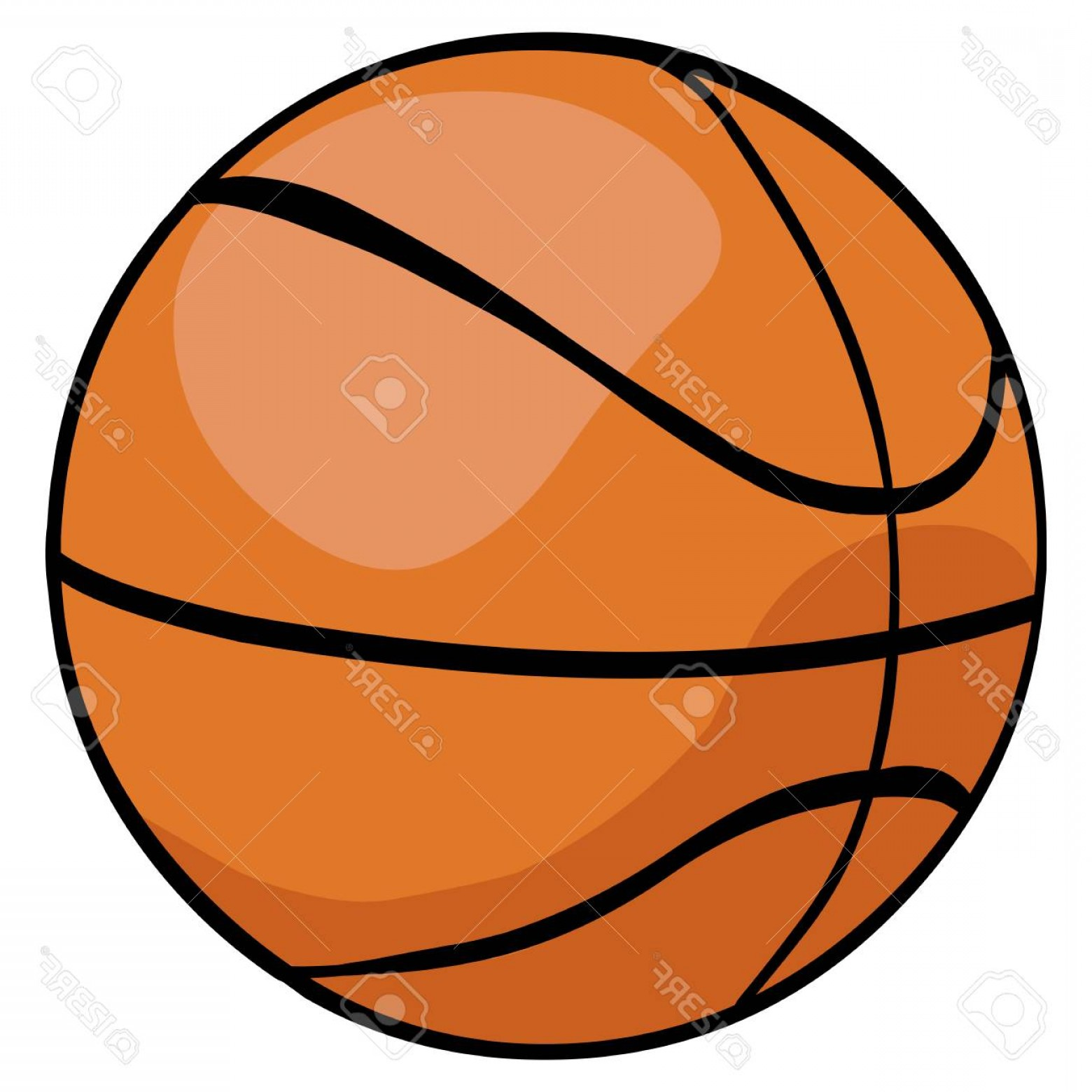 Cartoon Basketball Vector: Photostock Vector Vector Single Cartoon Basketball Ball On White Background