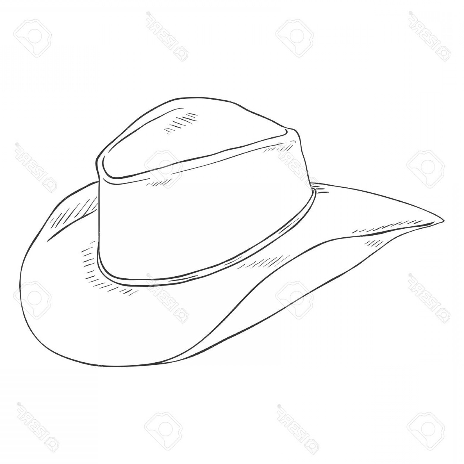 Cowboys Line Drawings Vector: Photostock Vector Vector Single Sketch Cowboys Hat On White Background