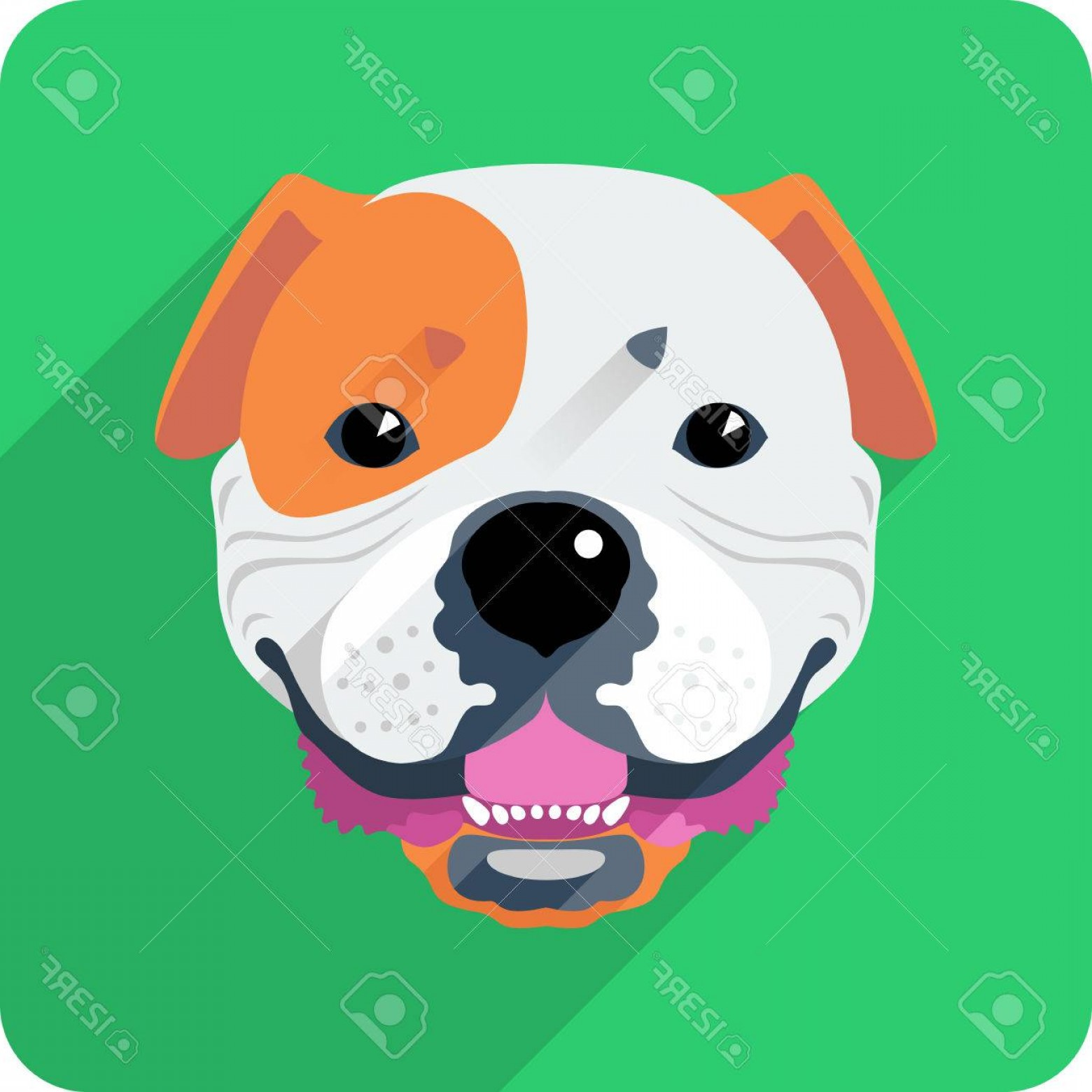 Vector Smiling Bulldog: Photostock Vector Vector Smiling Dog American Bulldog Icon Flat Design