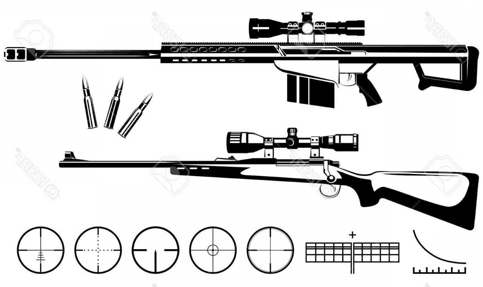 Hunting Rifle Vector Cross: Photostock Vector Vector Sniper Rifles And Target Isolated On White Background