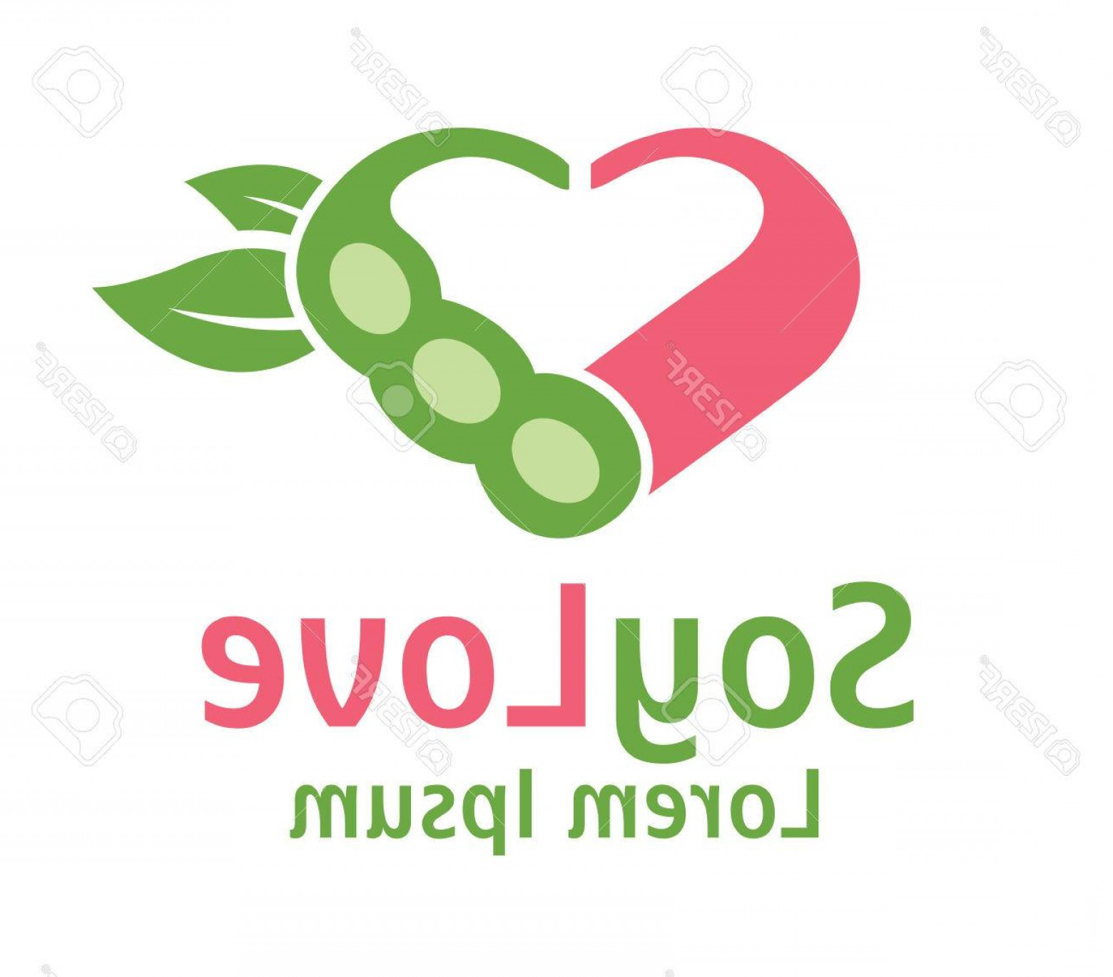 Vegan Heart Vectors: Photostock Vector Vector Soy Soya With Exchangeable Text And Hearts Isolated On White Background Suitable For Vegan A