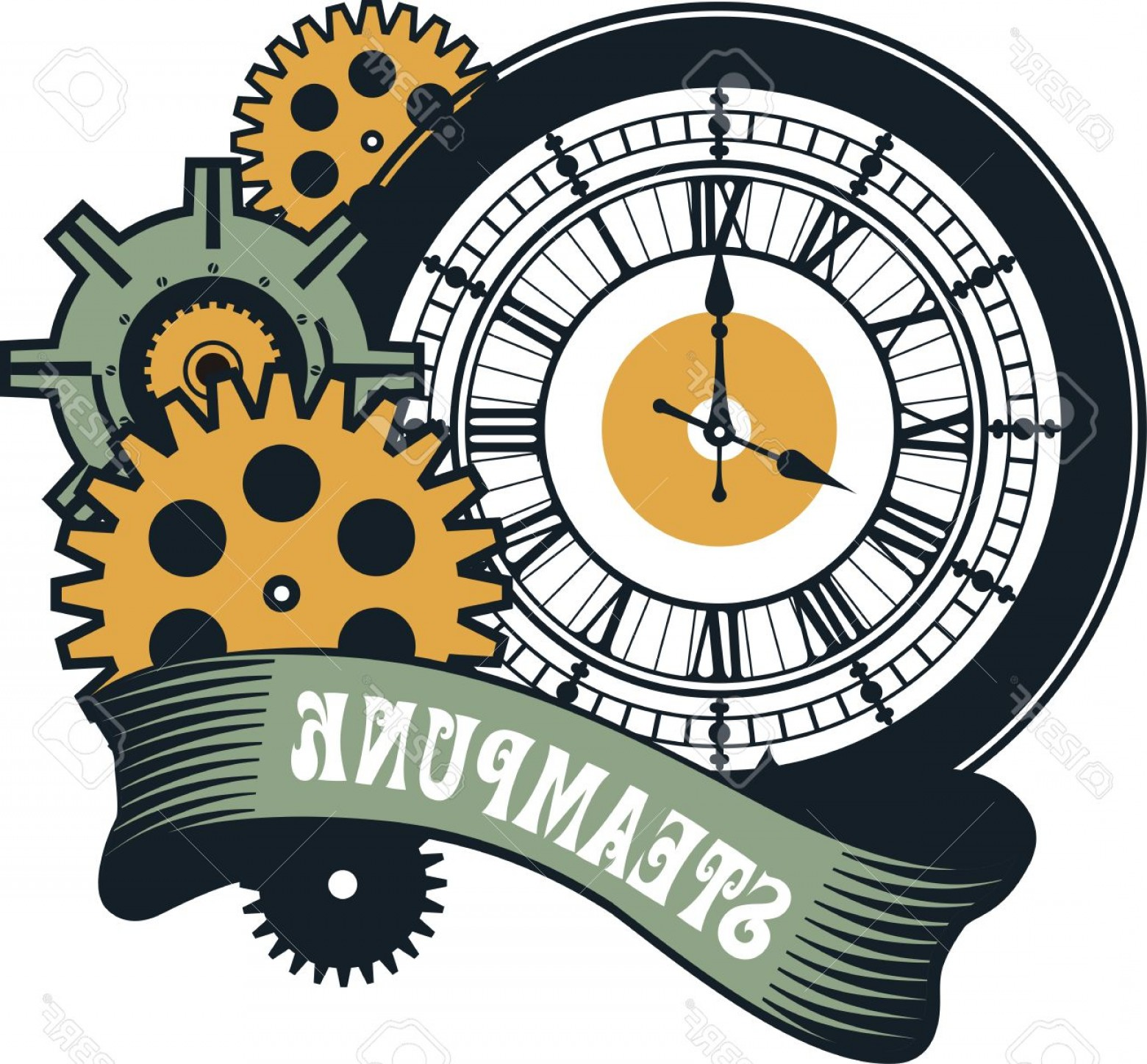 Vector Mechanical Clock Wheels: Photostock Vector Vector Steampunk Mechanical Watches Parts And Gears On A White Background