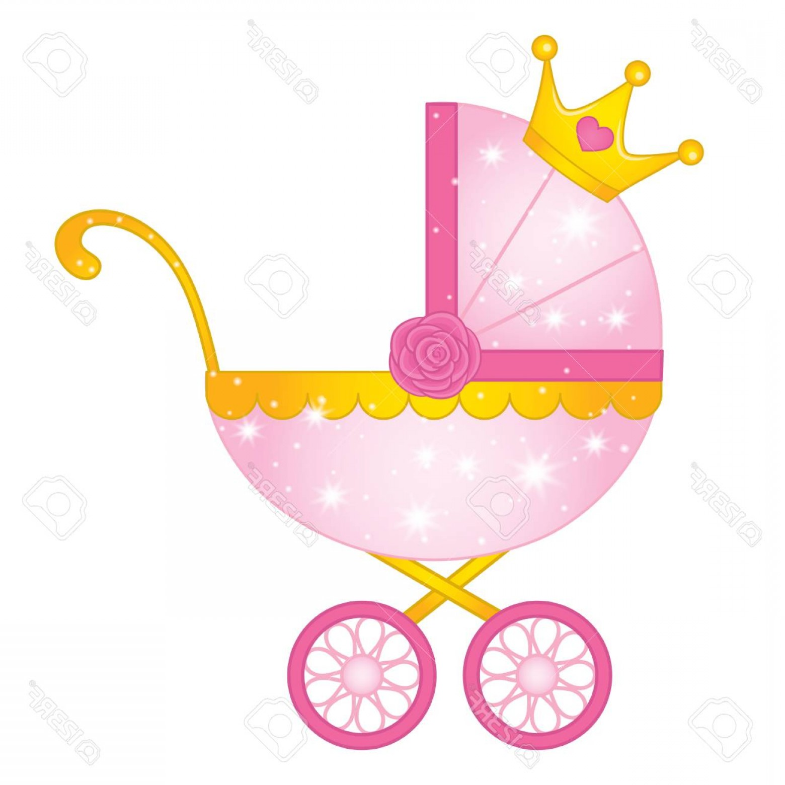 Princess Baby Girl Vector: Photostock Vector Vector Stroller For Princess Baby Girl Vector Pink And Yellow Stroller Decorated With Crown