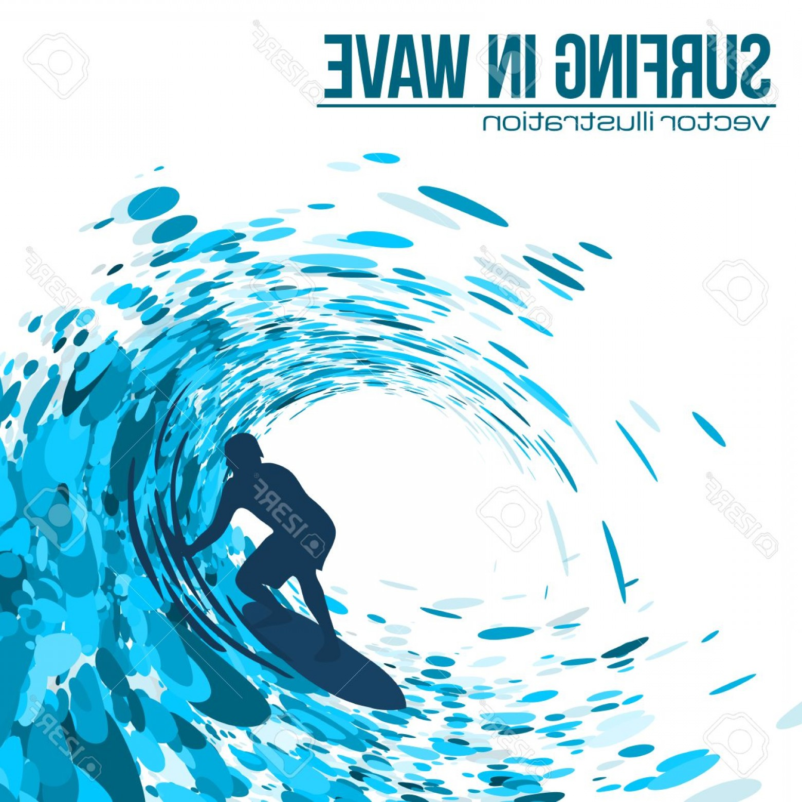 Waves With Surfer Silhouette Vector: Photostock Vector Vector Surfer Silhouette In Blue Wave On White Background