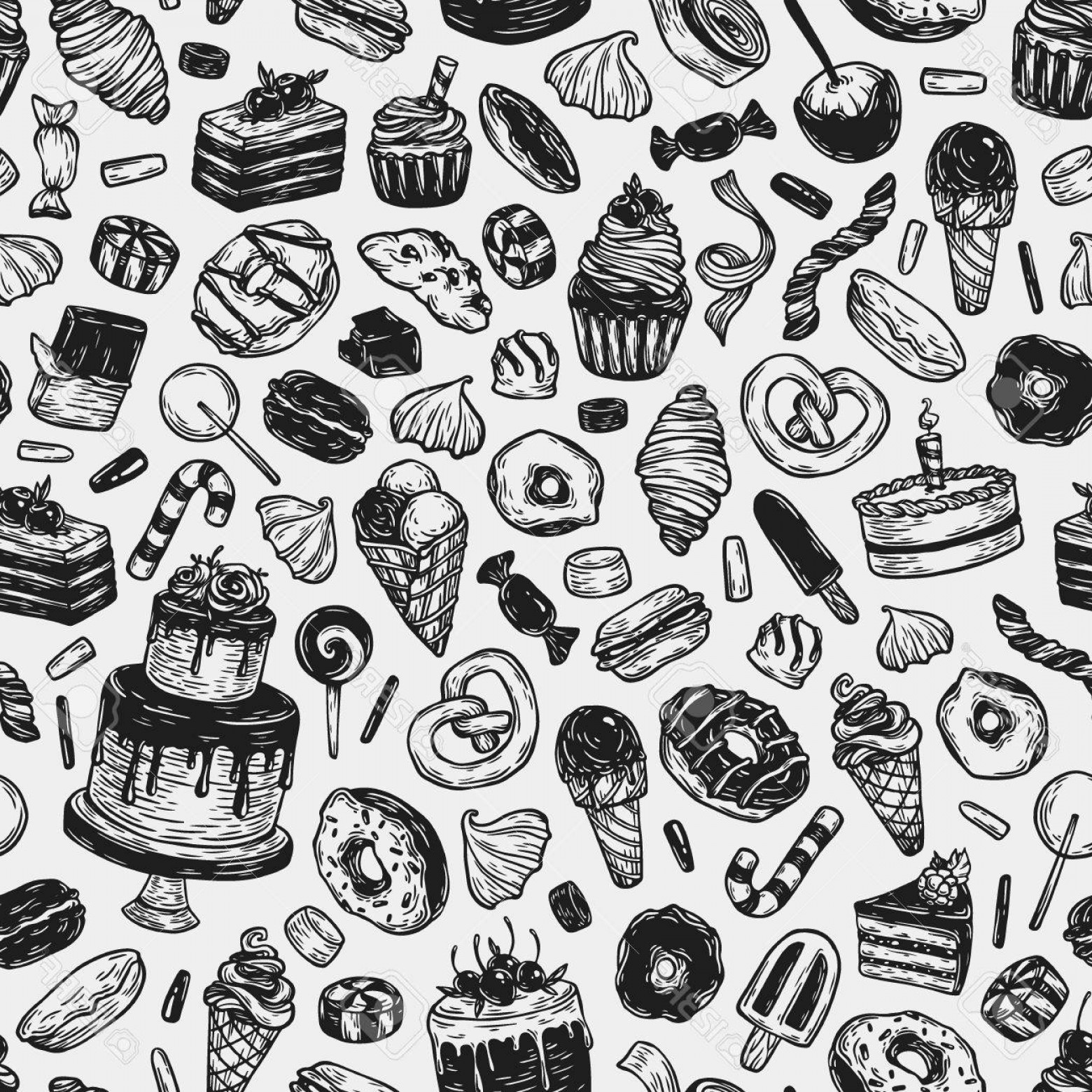 Black And White Candy Vector: Photostock Vector Vector Sweets Seamless Pattern With Sweets Pastry Sweetmeat Desserts Cakes Ice Cream Donuts Cupcakes