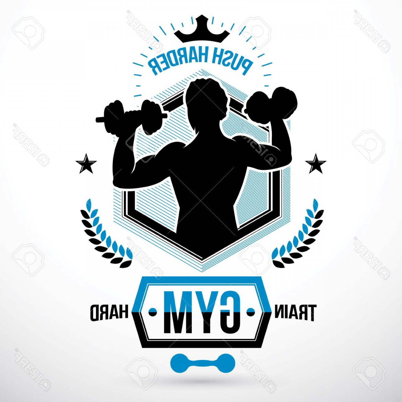 Champions Gym Vector: Photostock Vector Vector Symbol Composed Using Muscular Athlete Holding Dumbbells Sport Equipment Strong Man Champions