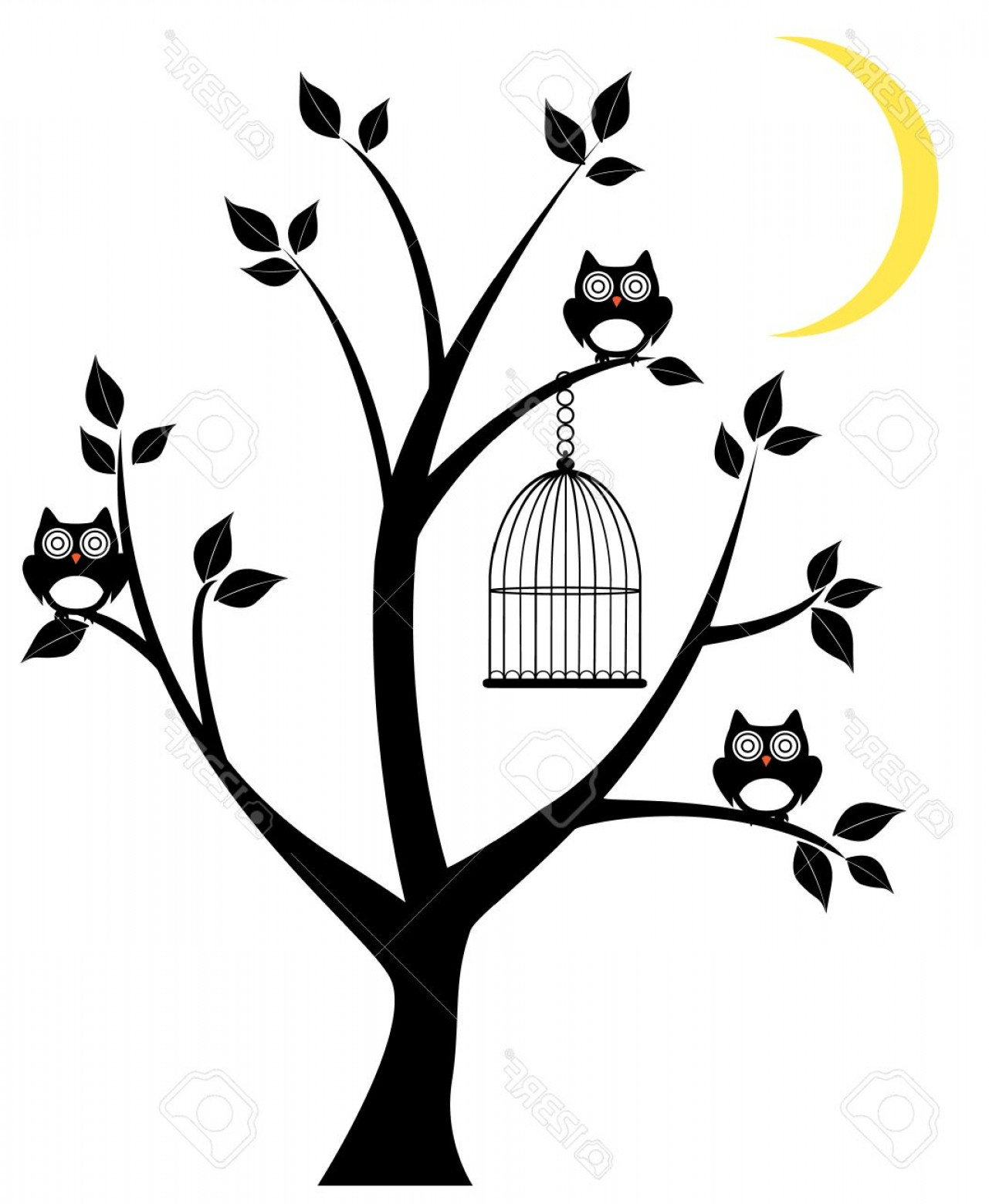 Owl Silhouette Vector Art: Photostock Vector Vector Tree Silhouette With Owls Cage And Moon Crescent