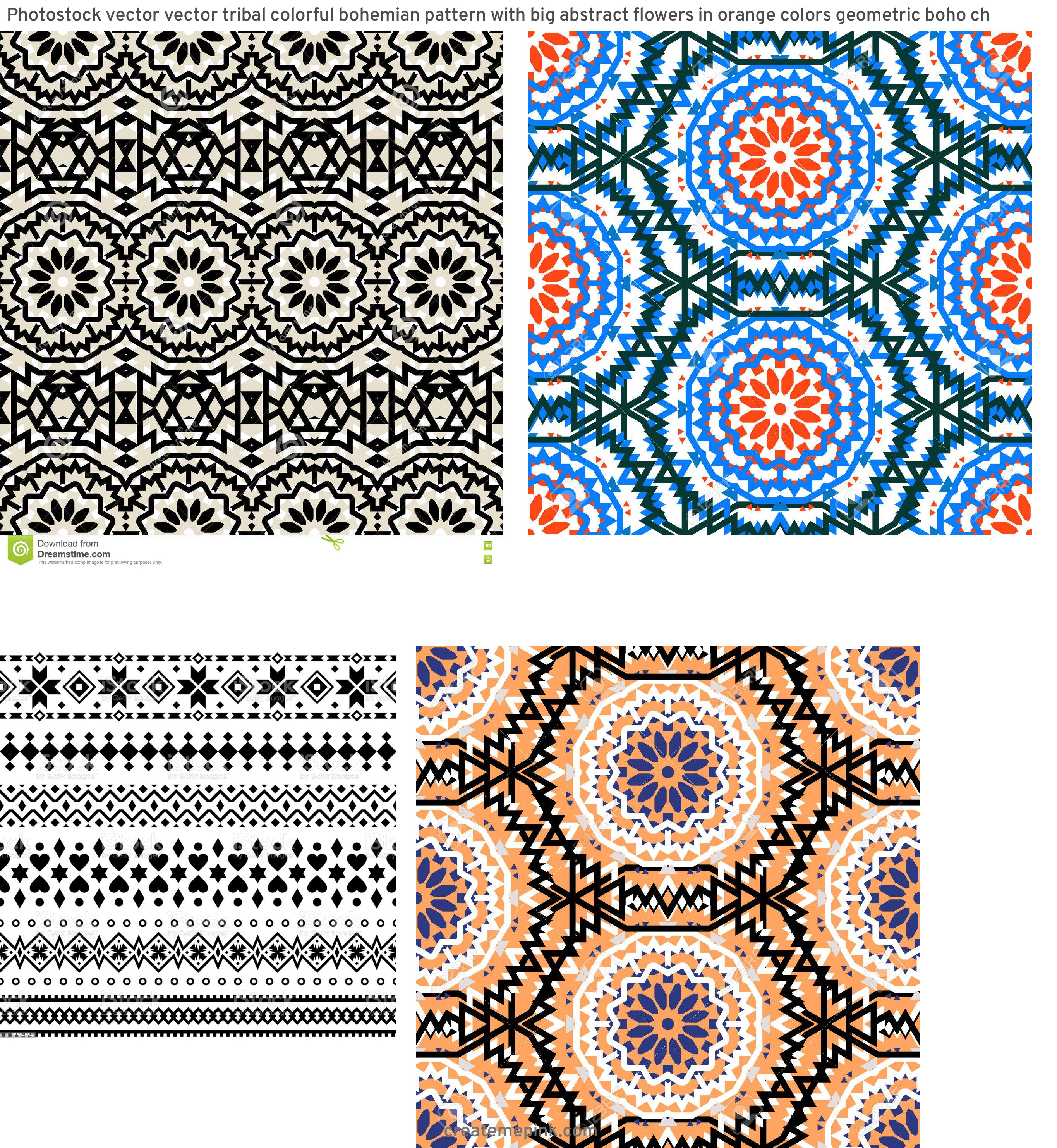 Bohemian Pattern Vector: Photostock Vector Vector Tribal Colorful Bohemian Pattern With Big Abstract Flowers In Orange Colors Geometric Boho Ch