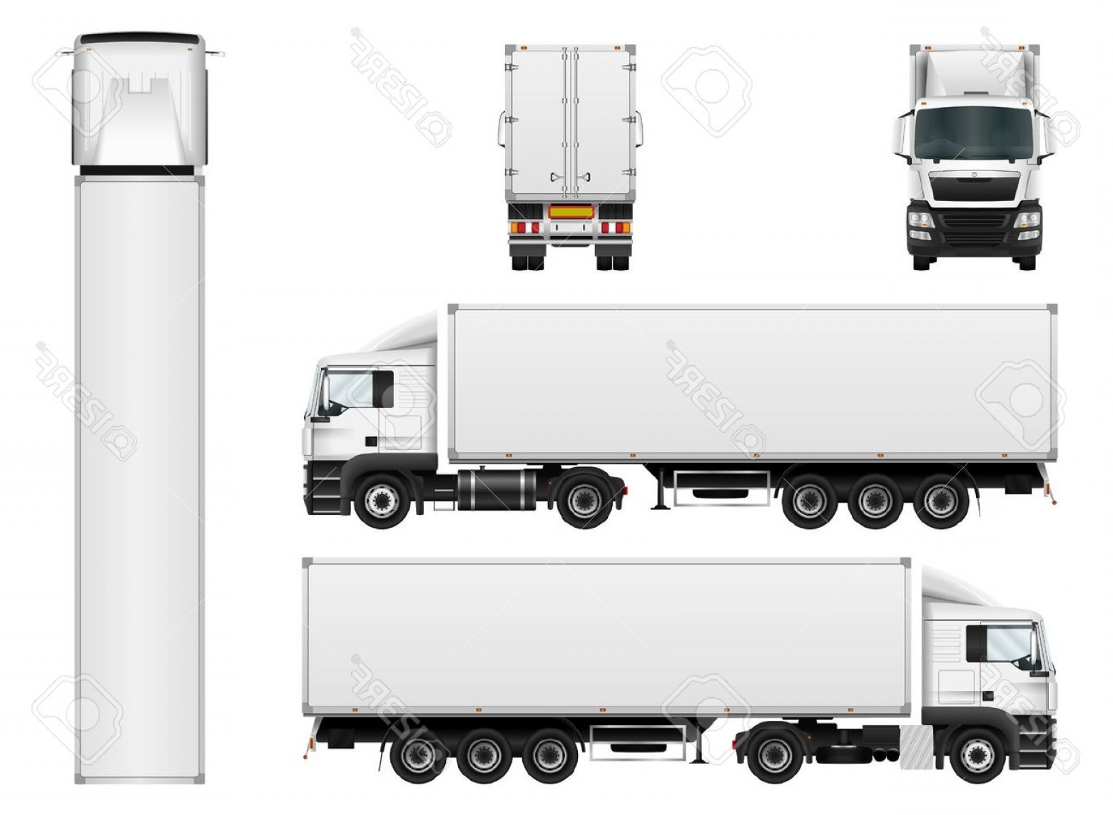 Cargo Trailer Vector: Photostock Vector Vector Truck Trailer Template Isolated On White Background Cargo Delivering Vehicle All Elements In