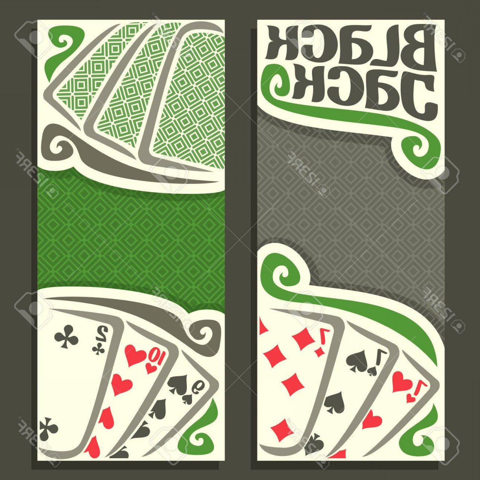 10 Playing Card Vector: Photostock Vector Vector Vertical Banners Black Jack For Text Combination Playing Cards For Gamble