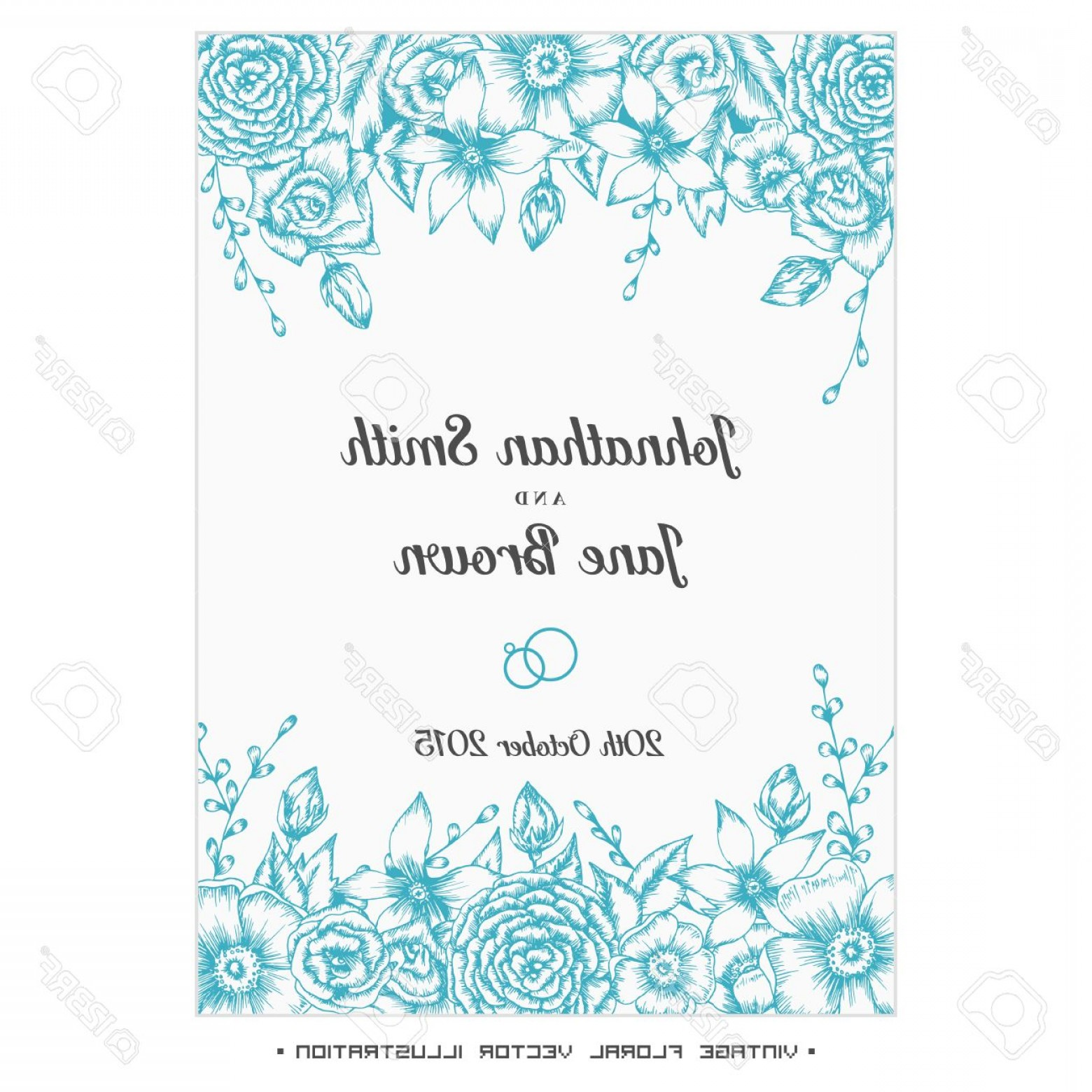 Turquoise Flower Vector: Photostock Vector Vector Vintage Floral Wedding Invitation Hand Drawn Flower Border