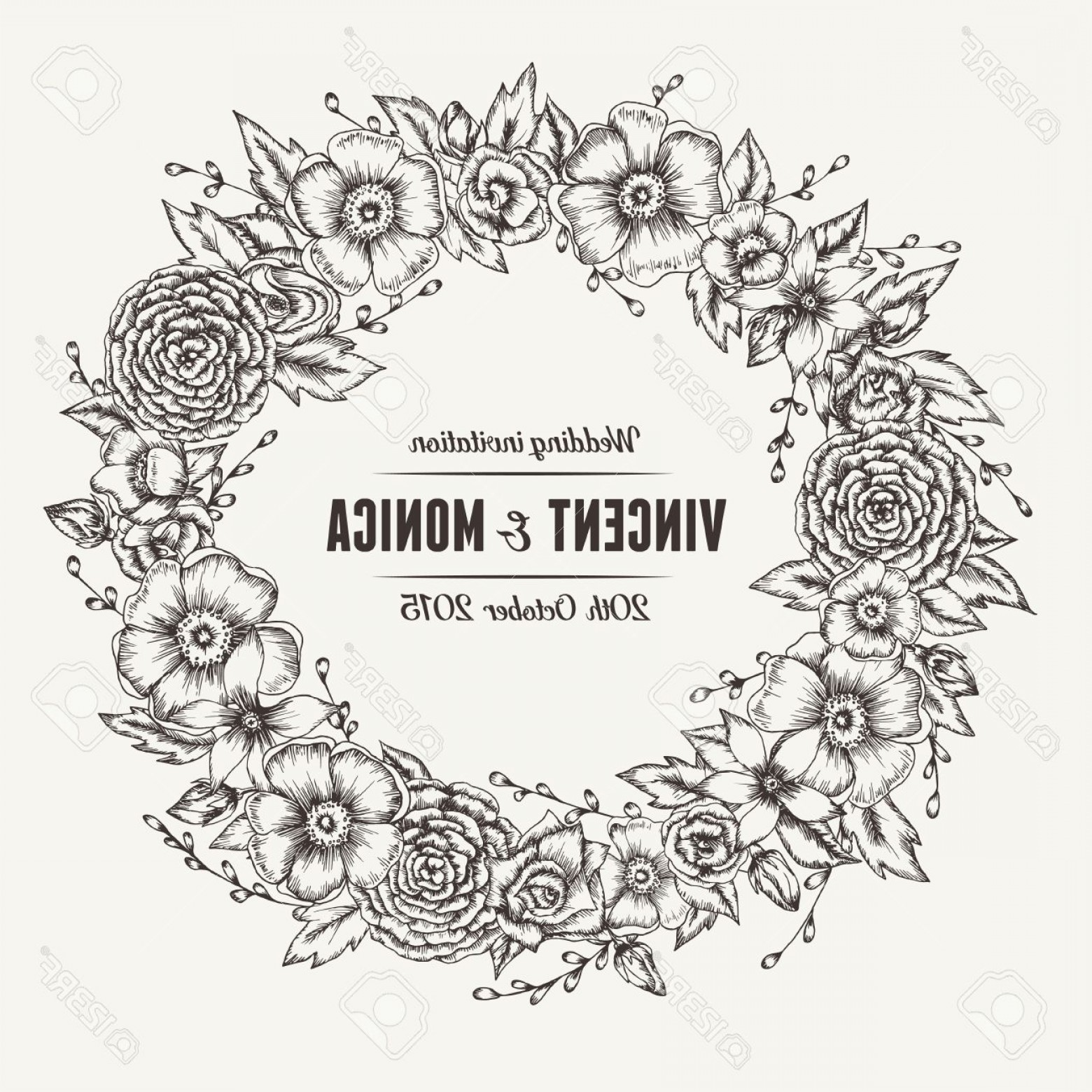 Rustic Wedding Invitation Vector: Photostock Vector Vector Vintage Floral Wedding Invitation Hand Drawn Flower Wreath