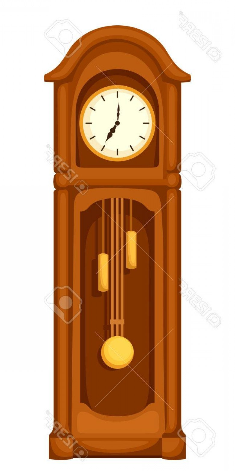 Old Floor Clock Vector: Photostock Vector Vector Vintage Longcase Grandfather Clock Isolated On A White Background