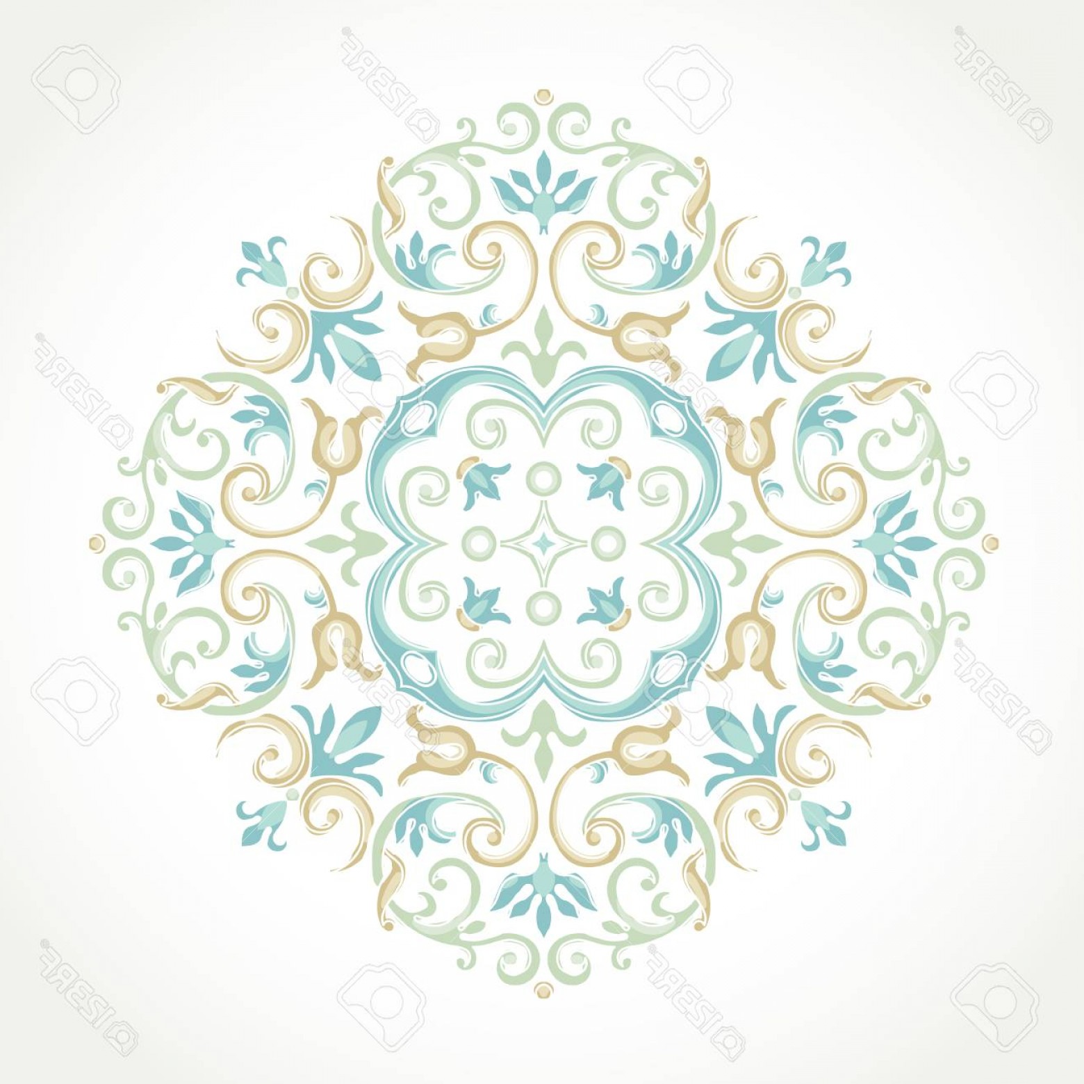 Aqua Victorian Vectors: Photostock Vector Vector Vintage Pattern In Victorian Style Ornate Floral Element For Design Ornament Pattern For Wedd