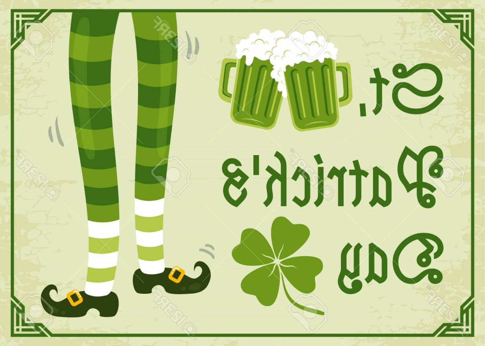Shamrock Vector Art Vintage: Photostock Vector Vector Vintage Poster With Clover And Beer For Patrick S Day Green Clover Foots And Two Beer Mugs