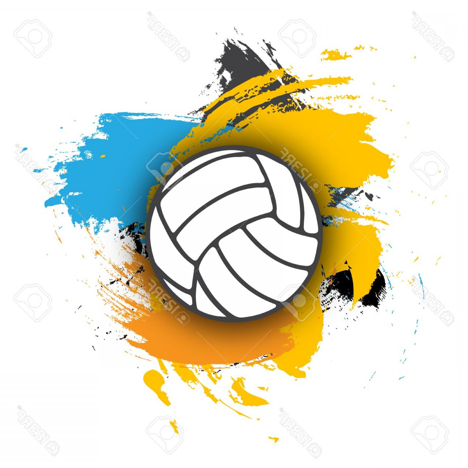 Volleyball Vector Logo: Photostock Vector Vector Volleyball Logo On The Background Of Multi Colored Brushstrokes Volleyball Ball For Banner Po