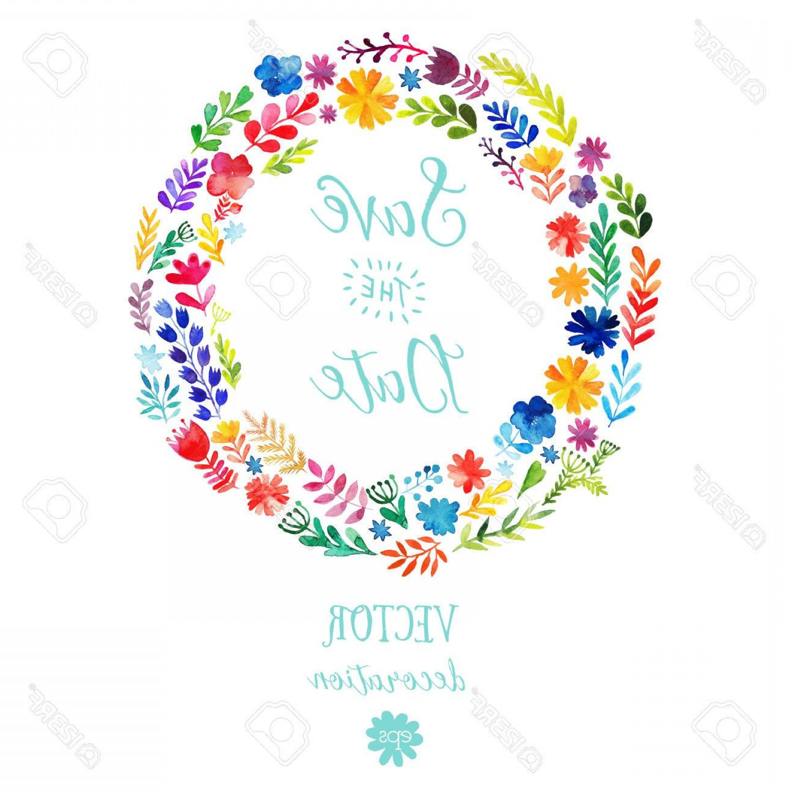 Summer Wreath Free Vector Watercolor: Photostock Vector Vector Watercolor Colorful Circular Floral Wreaths With Summer Flowers And Central White Copyspace F