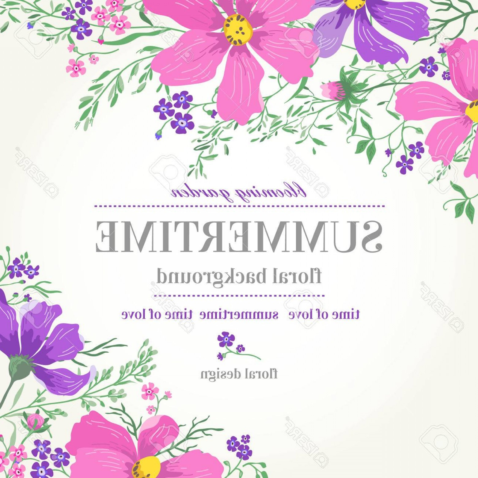 Lilac Wedding Vectors: Photostock Vector Vector Wedding Invitation With Pink And Purple Flowers On A White Background