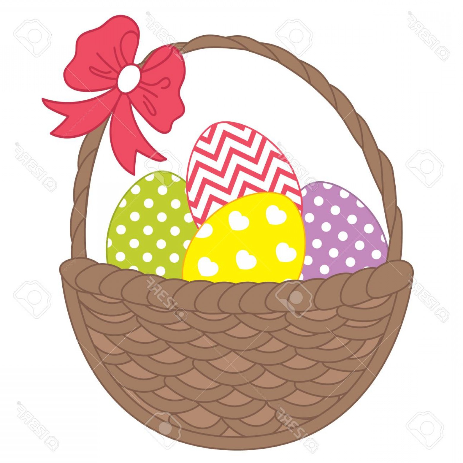 Vector Easter Egg Basket: Photostock Vector Vector Wicker Basket With Colorful Easter Eggs Vector Easter Eggs Easter Eggs Vector Illustration